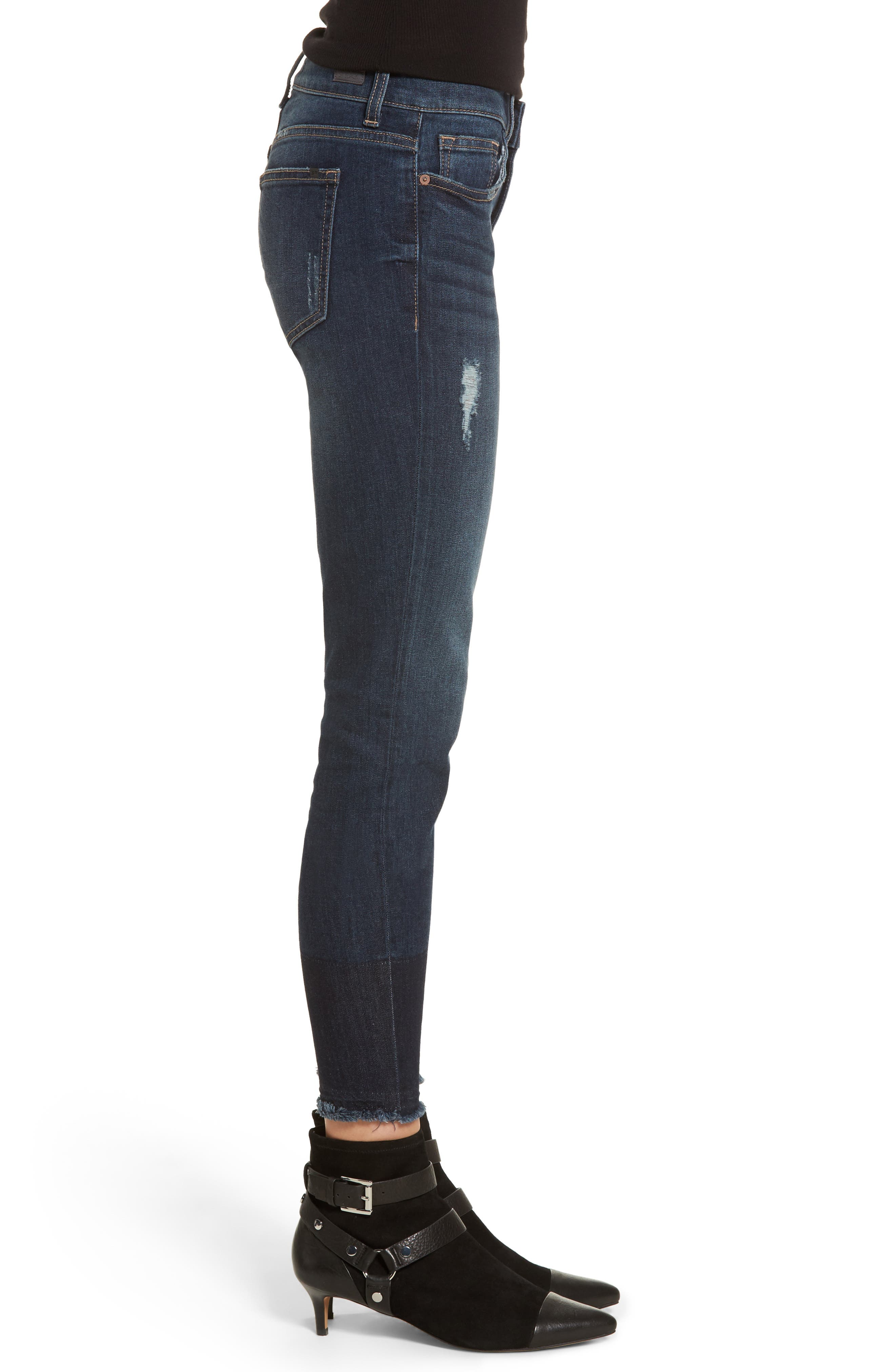 Colorblock Hem Skinny Jeans,                             Alternate thumbnail 3, color,                             Dark Wash
