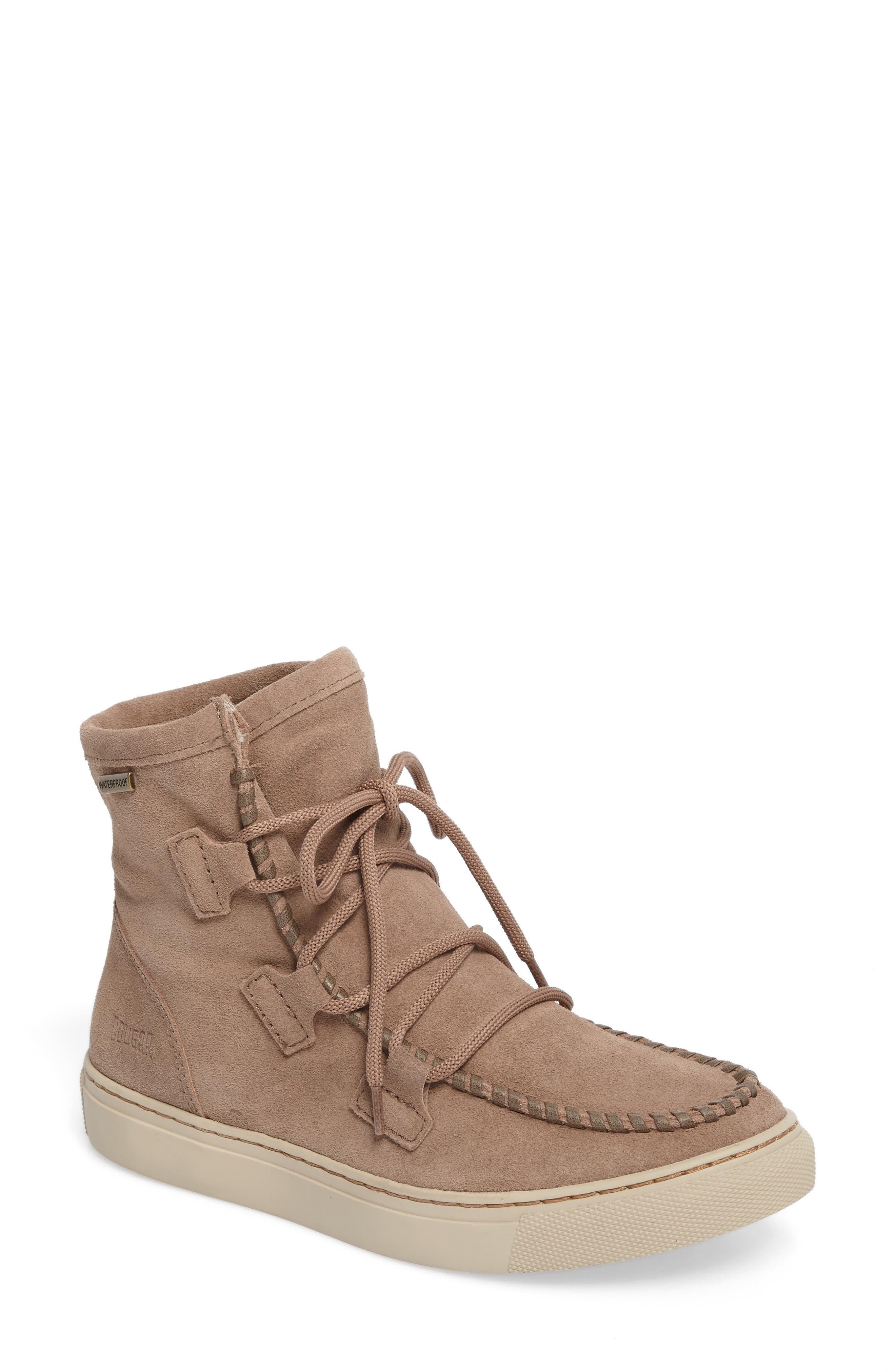 Fabiola Waterproof High Top Sneaker,                         Main,                         color, Taupe Suede