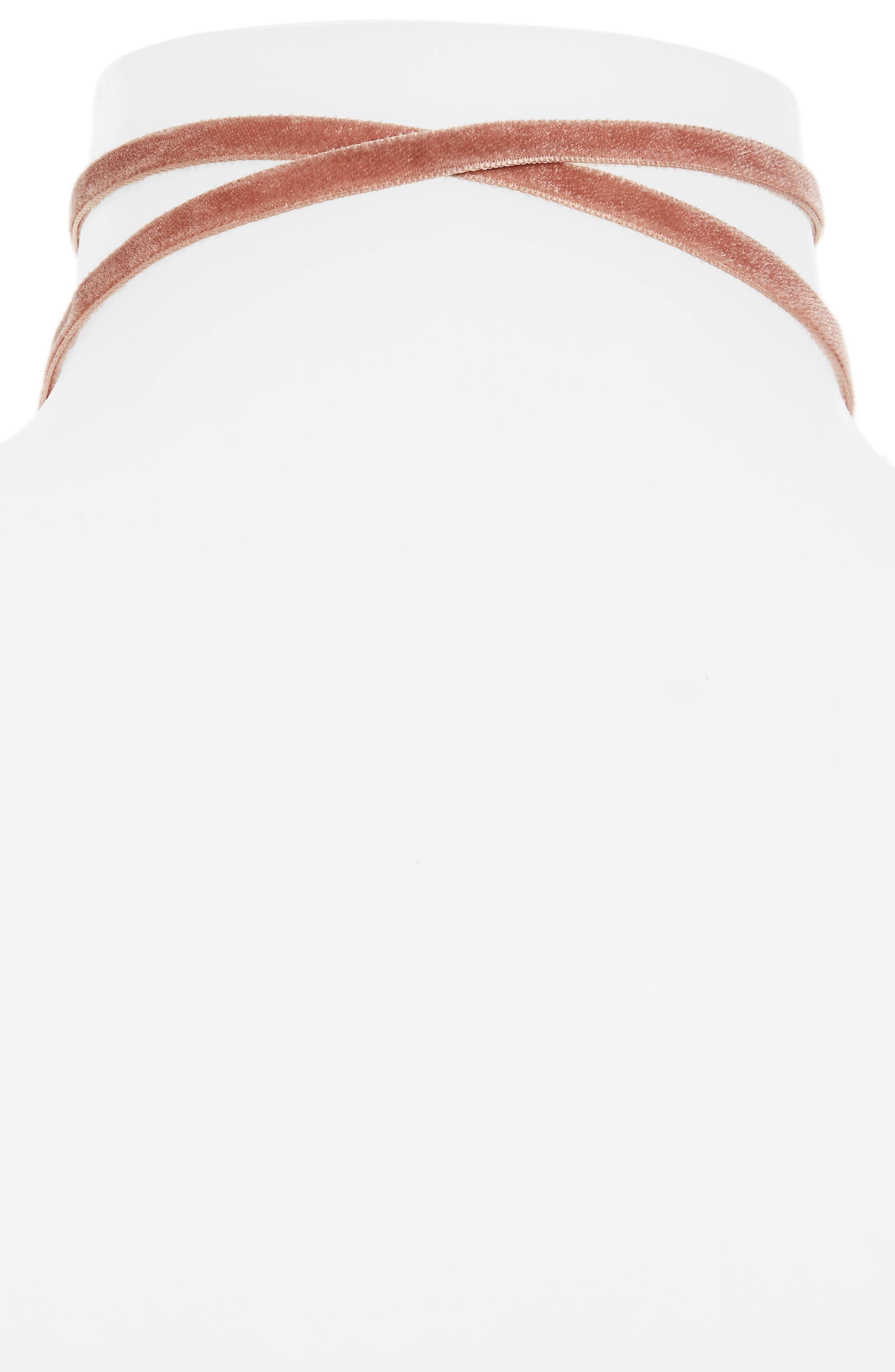 Velvet Choker,                             Alternate thumbnail 2, color,                             Pink