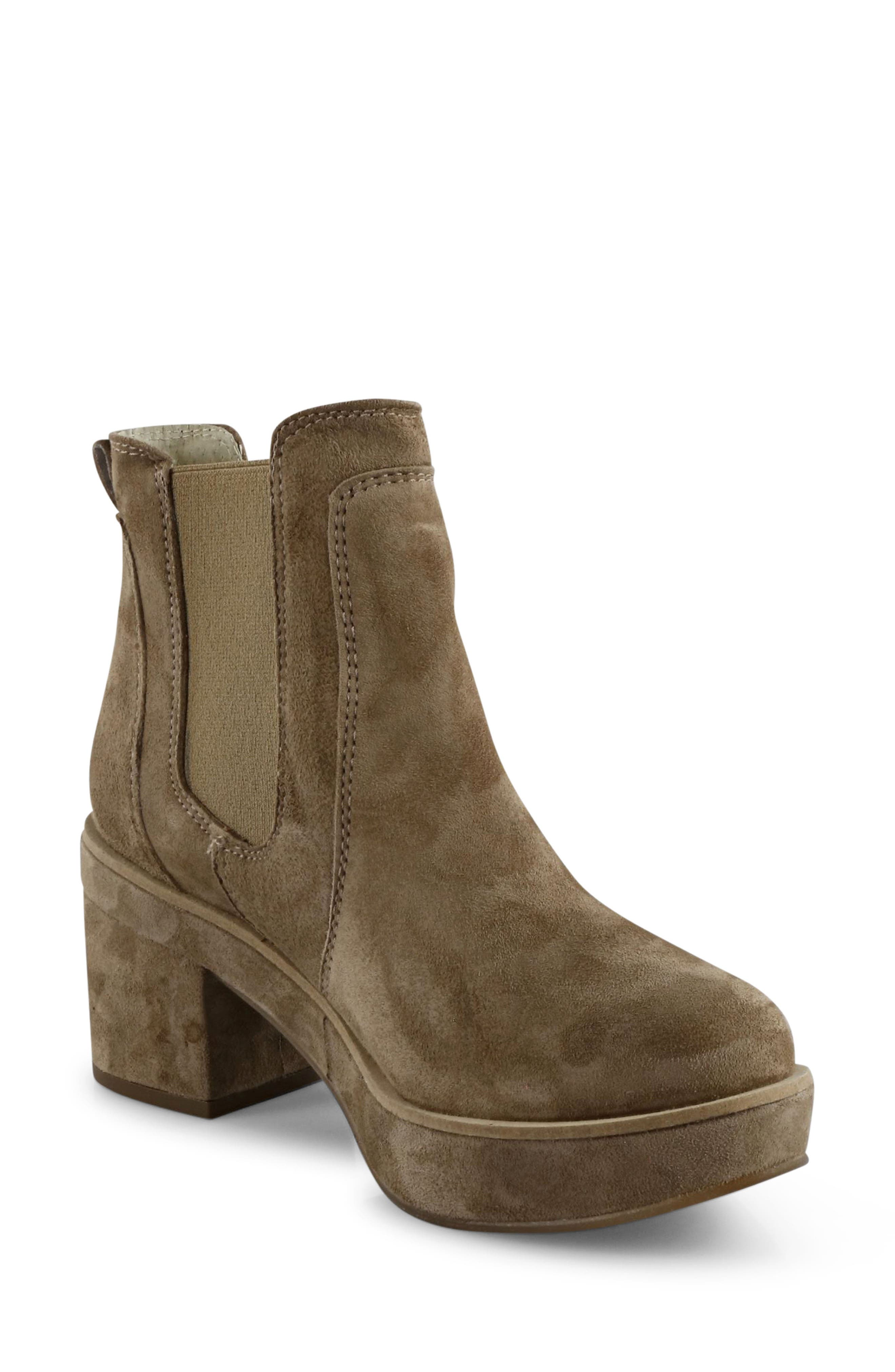 Darli Platform Chelsea Boot,                         Main,                         color, Caramel Suede