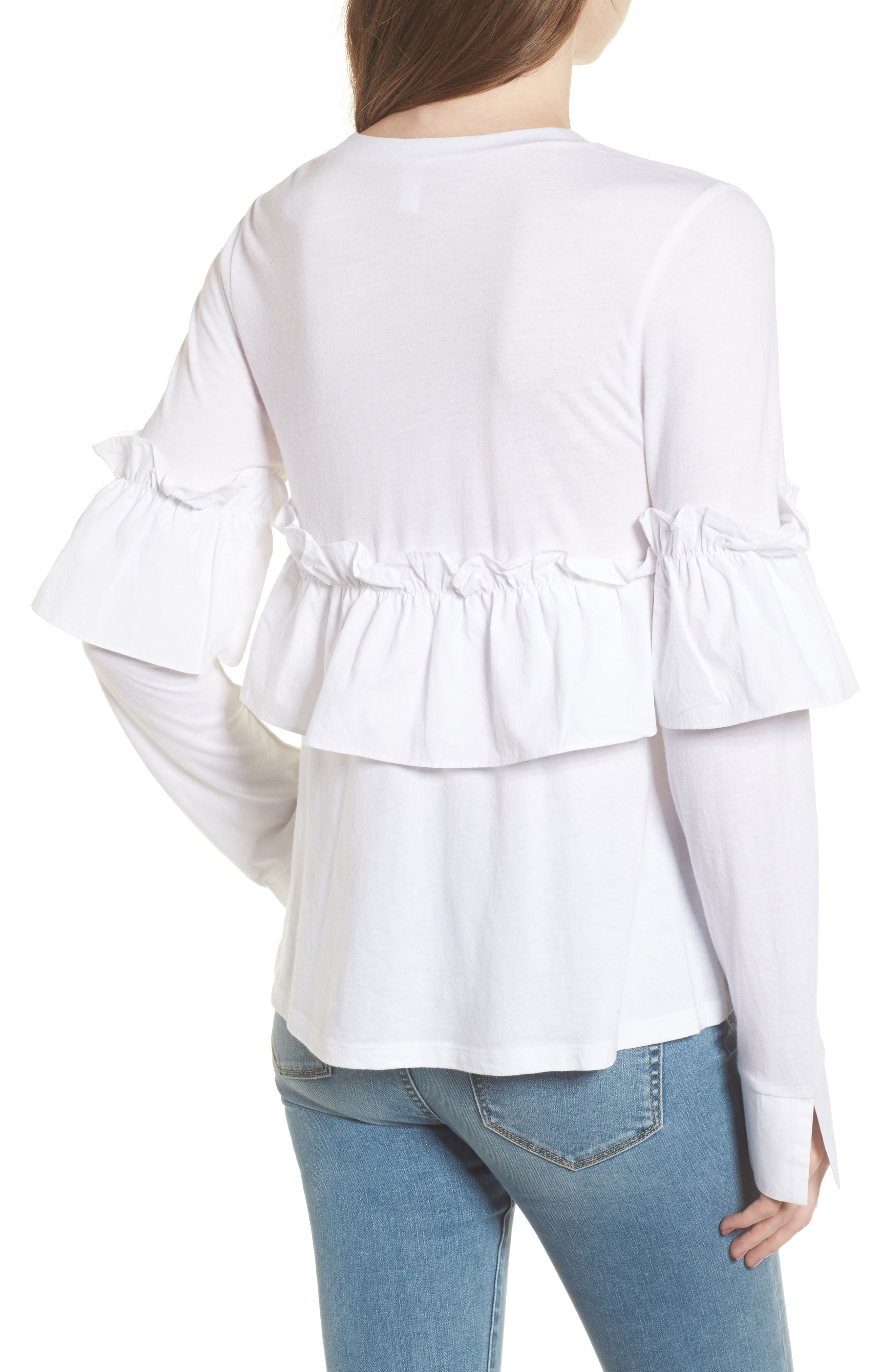 Ruffle Tee,                             Alternate thumbnail 2, color,                             White