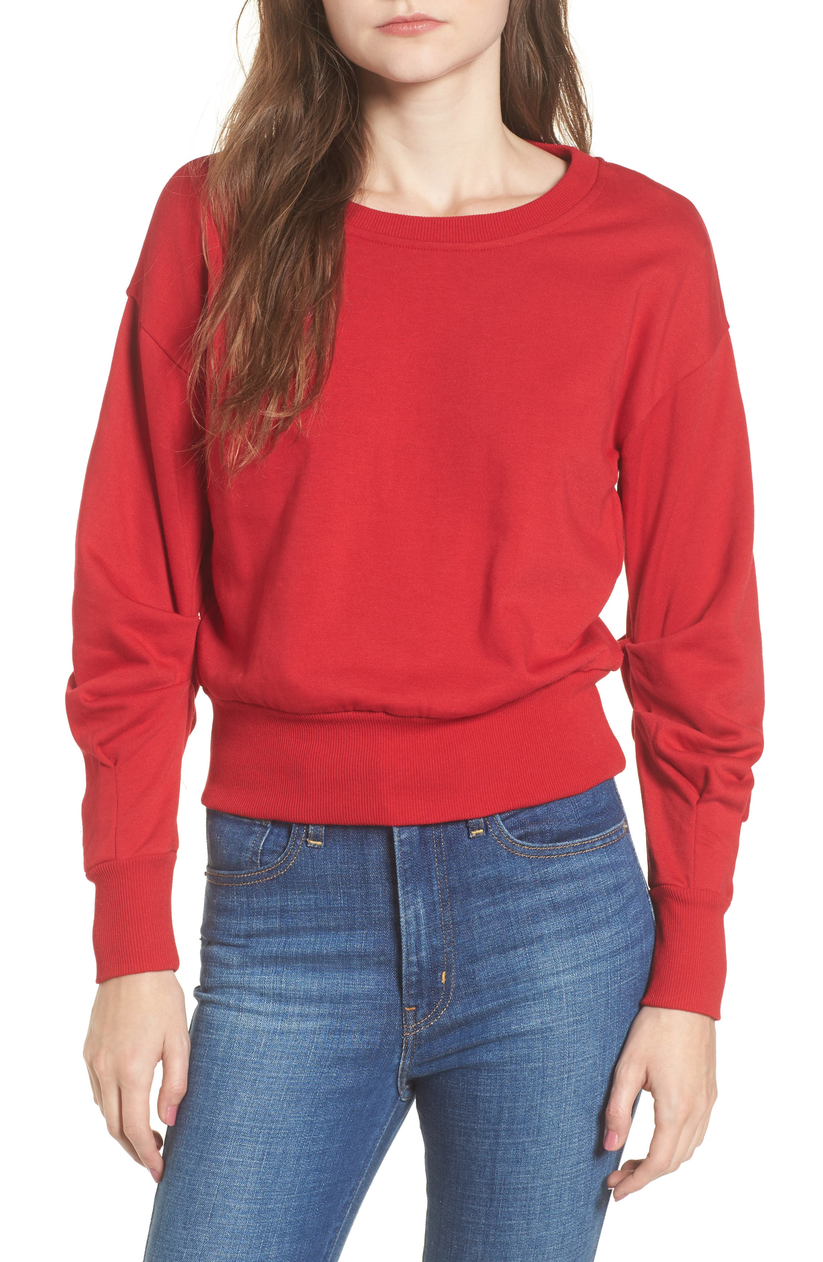 Ruched Sleeve Sweatshirt,                         Main,                         color, Red