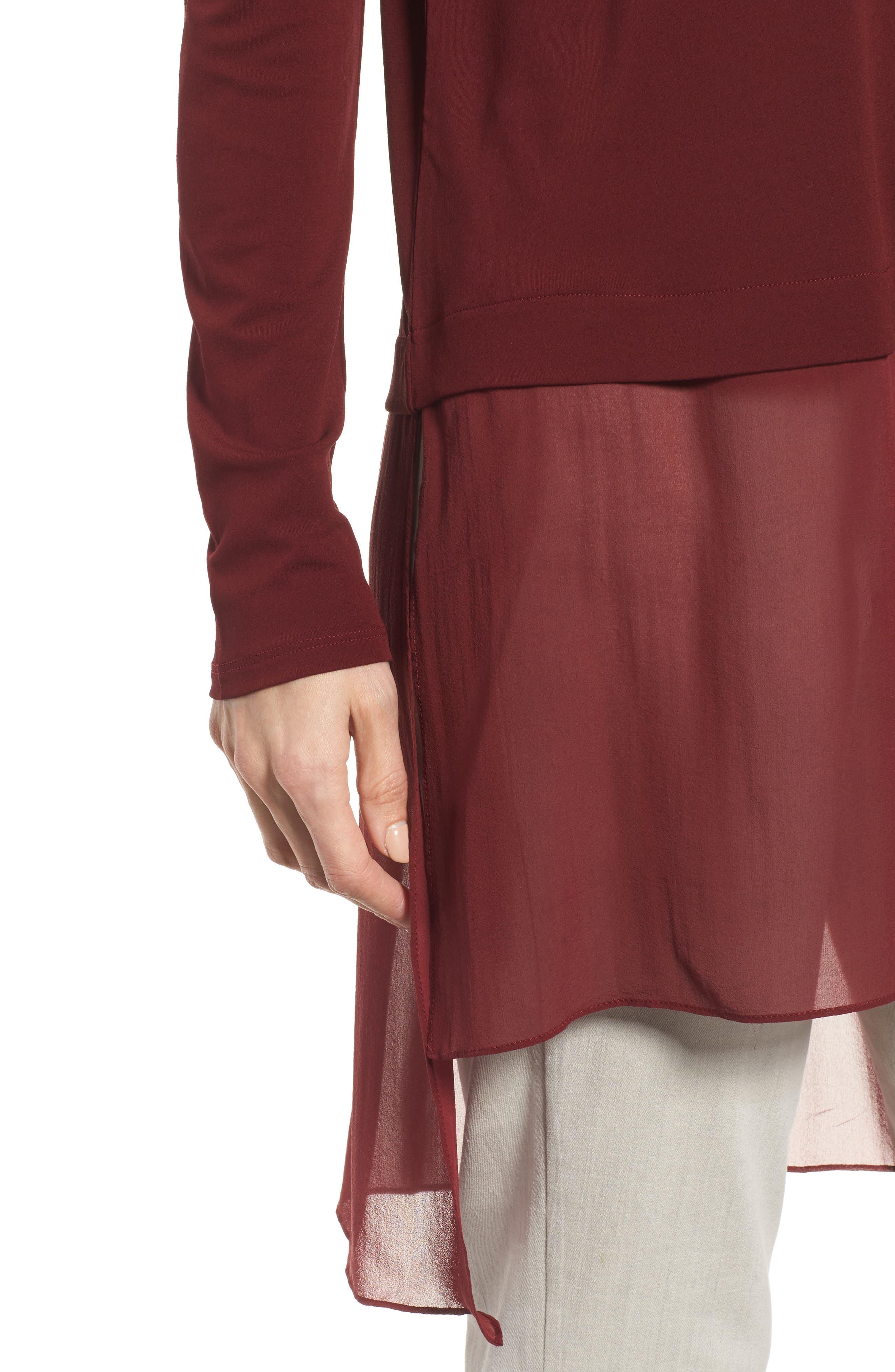 Sheer Hem Silk Tunic,                             Alternate thumbnail 4, color,                             Claret