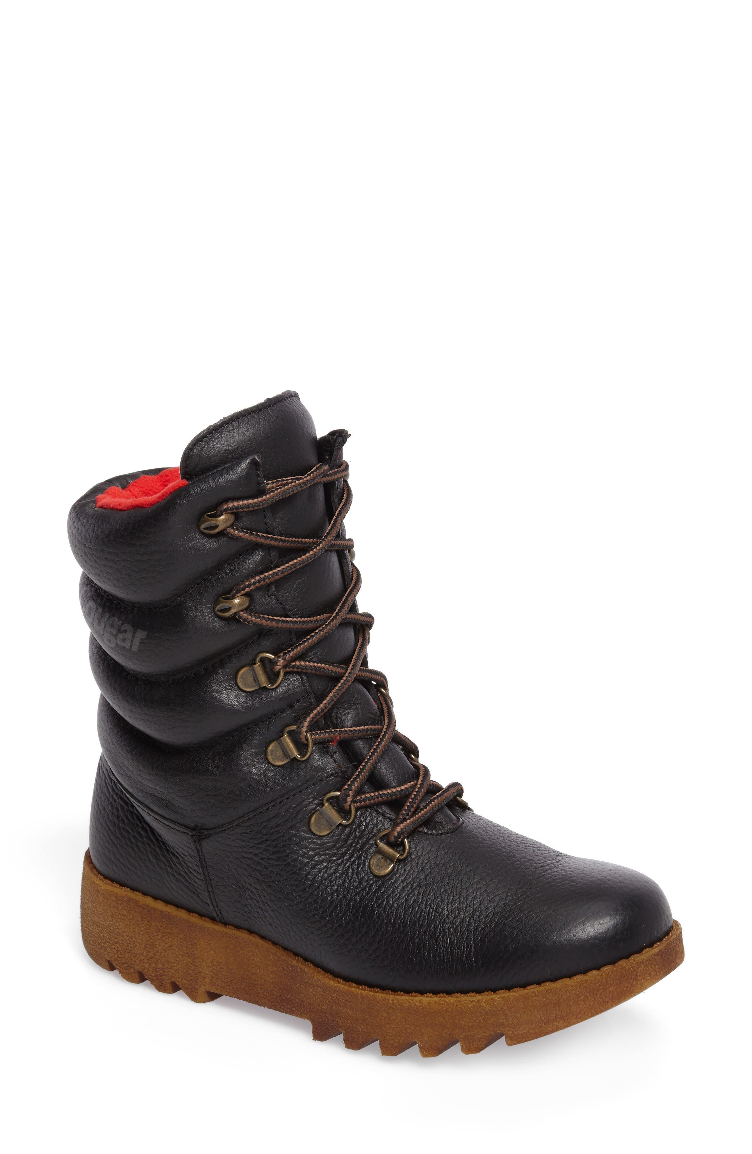 Original Pillow Waterproof Boot,                         Main,                         color, Black Leather