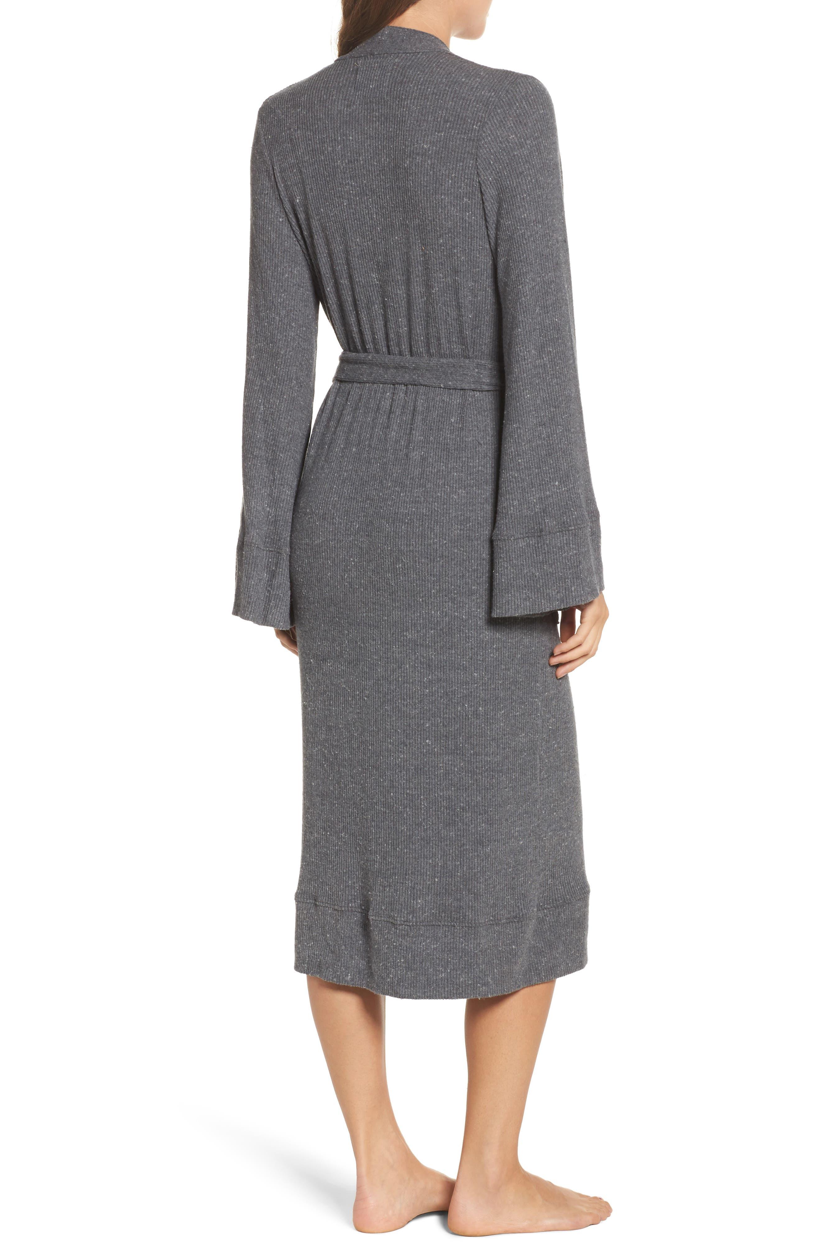 Love Knit Ribbed Robe,                             Alternate thumbnail 2, color,                             Charcoal