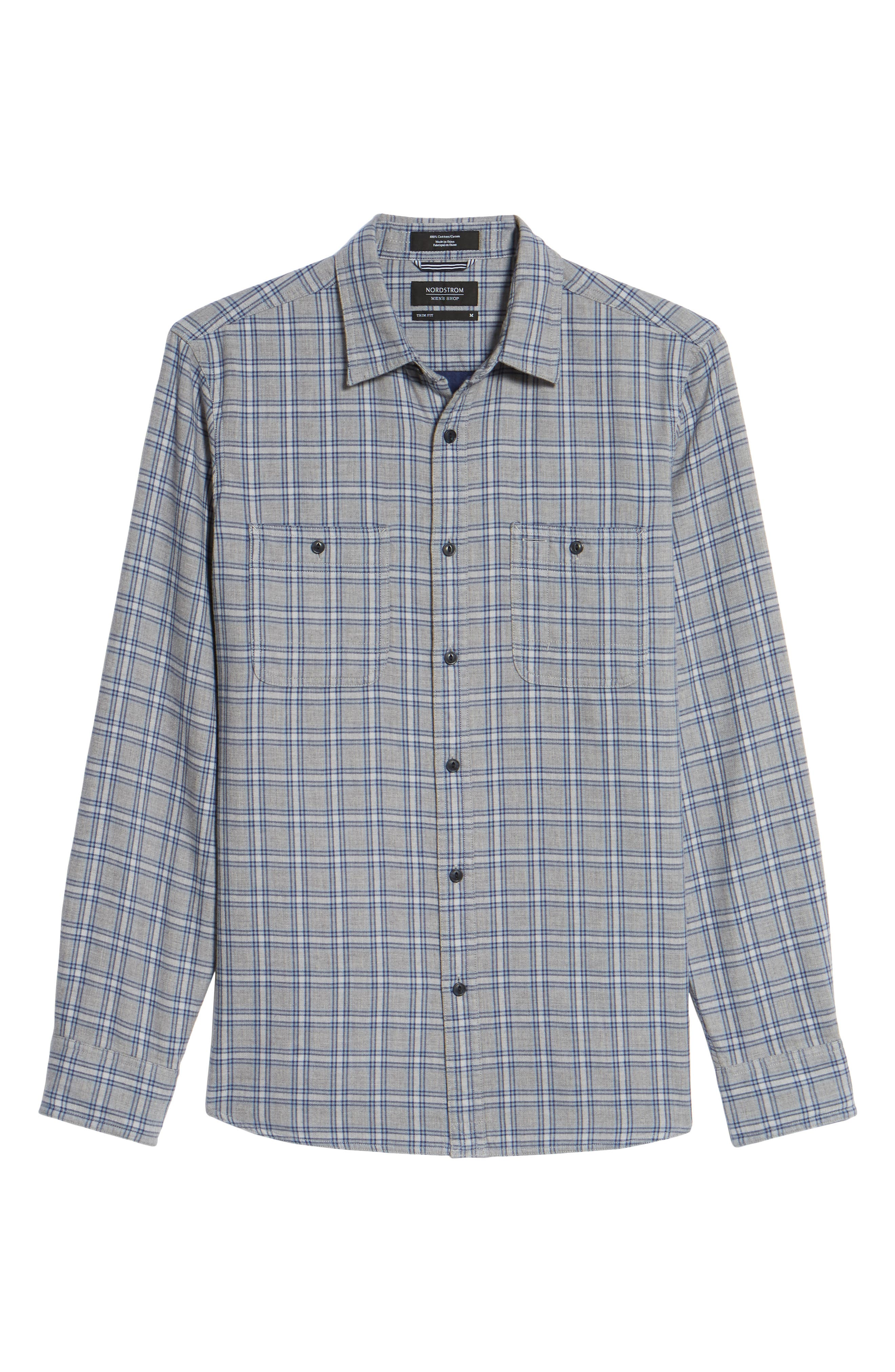 Workwear Duofold Check Sport Shirt,                             Alternate thumbnail 6, color,                             Navy Iris Grey Plaid Duofold