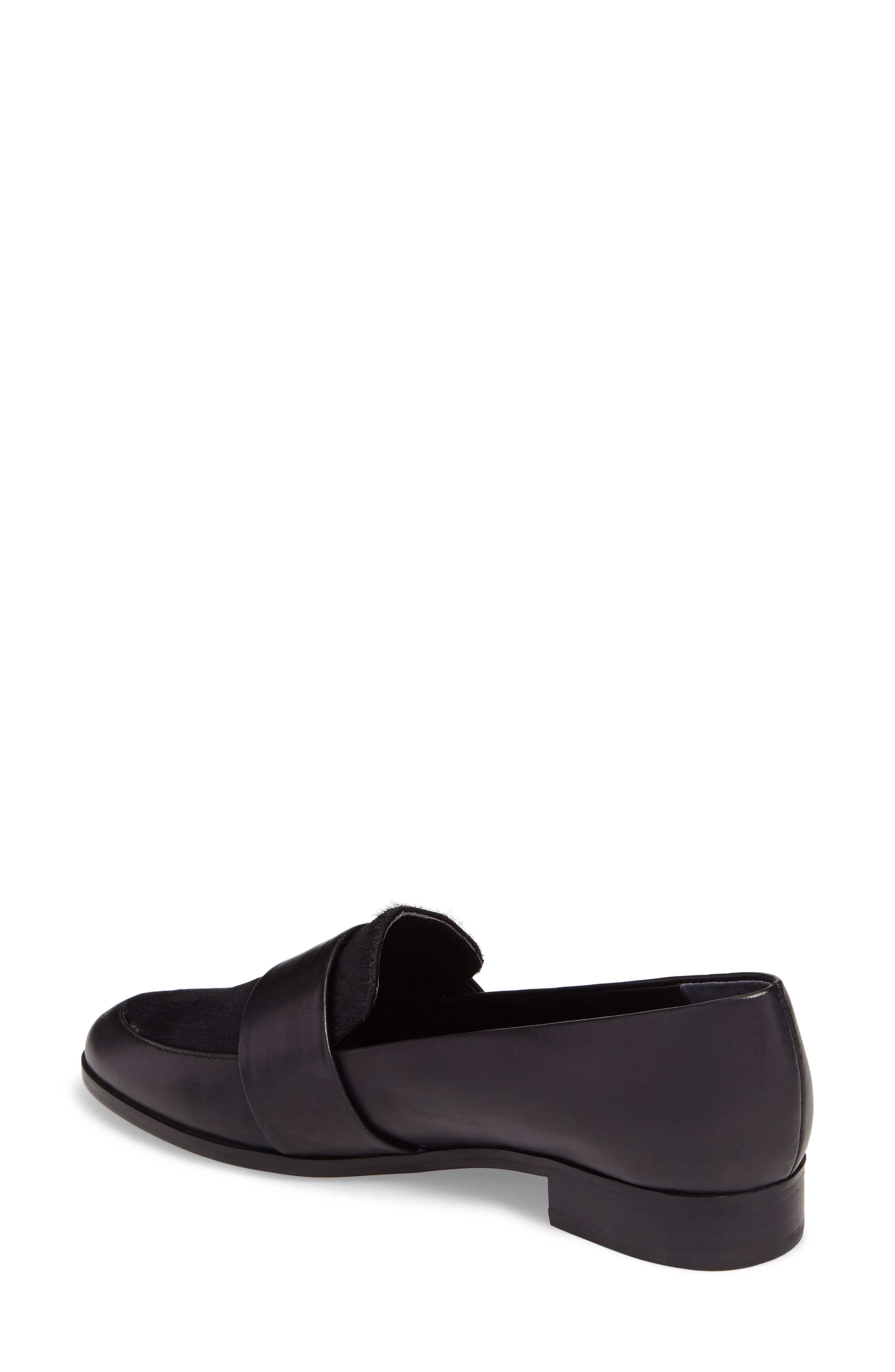 Goldie Loafer,                             Alternate thumbnail 2, color,                             Black Leather/ Calf Hair