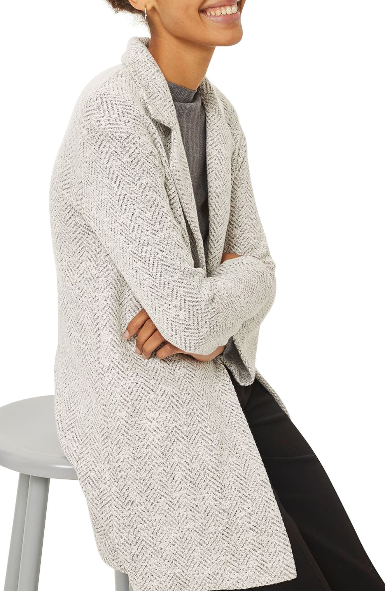 Textured Chevron Blazer Coat,                             Alternate thumbnail 3, color,                             White Multi