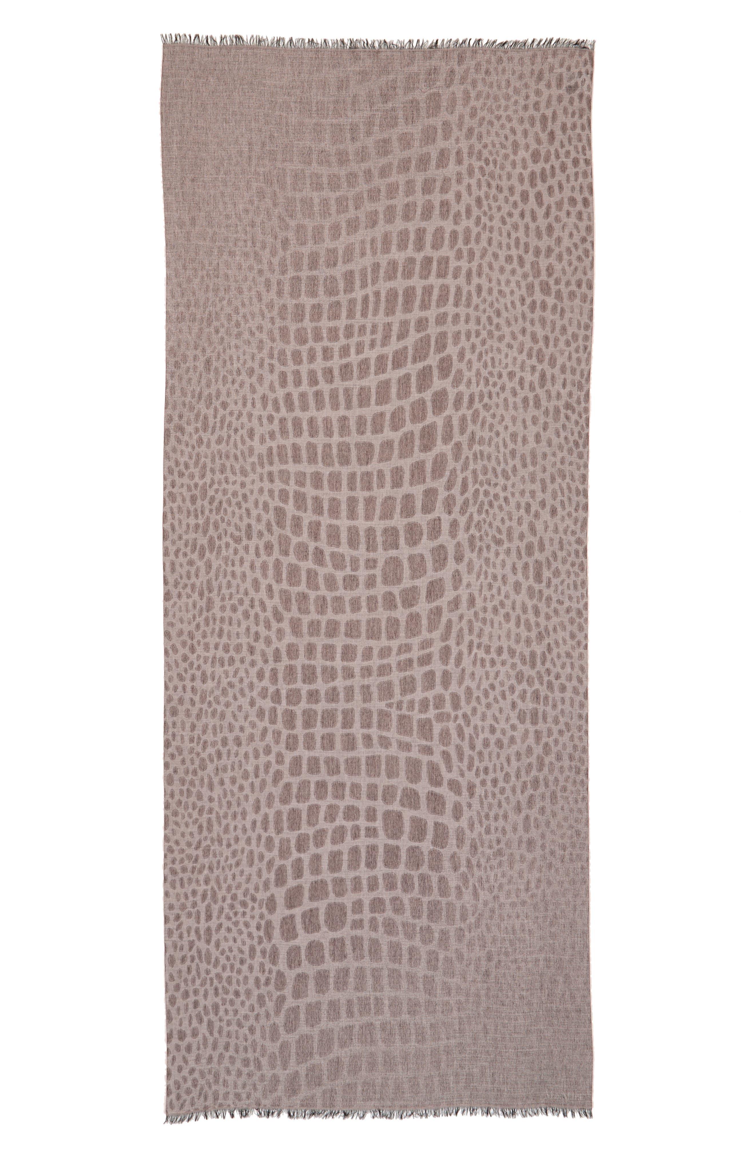 Max Mara Crocodile Print Wool & Modal Scarf