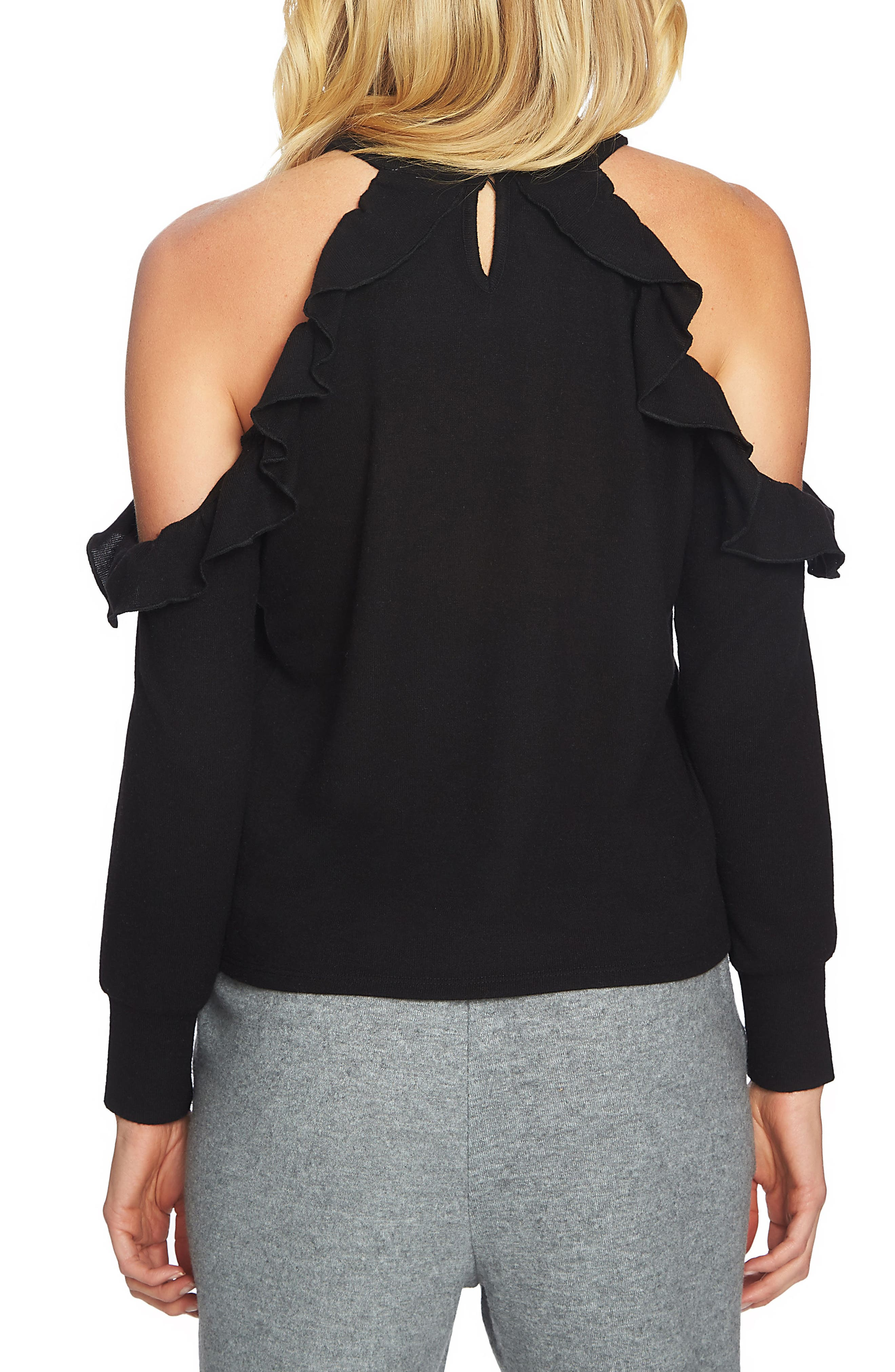 Alternate Image 2  - 1.STATE The Cozy Cold Shoulder Knit Top
