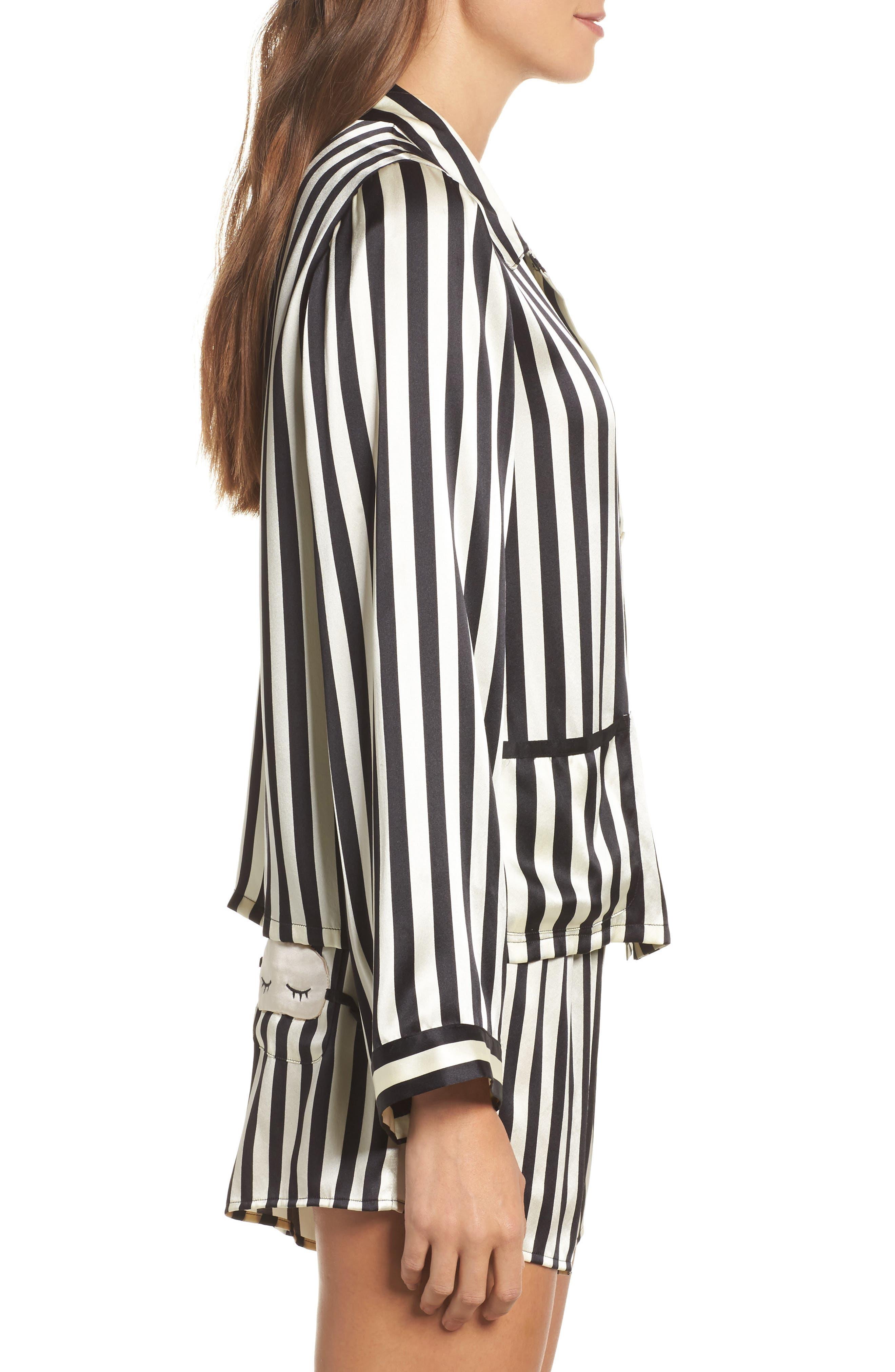 x Amanda Fatherazi Ruthie Mini Mask Stripe Pajama Top,                             Alternate thumbnail 3, color,                             Noir/ Ecru