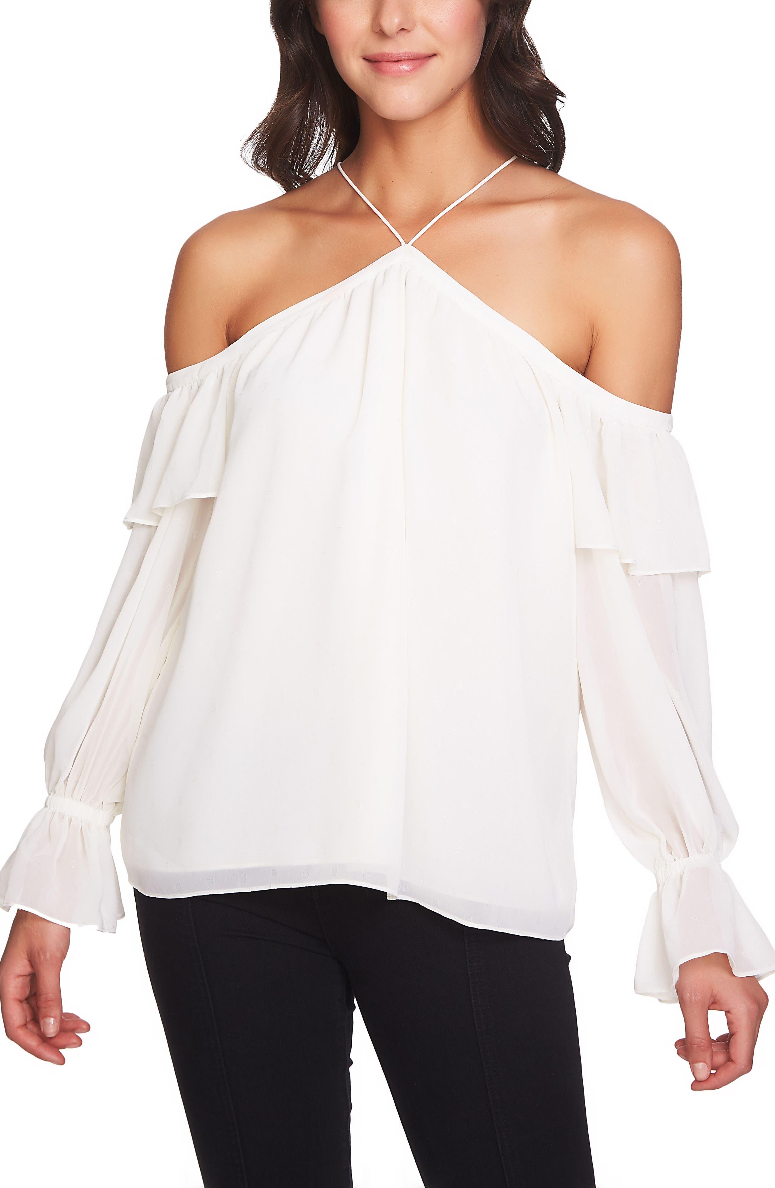 Cold Shoulder Halter Top,                         Main,                         color, Antique White