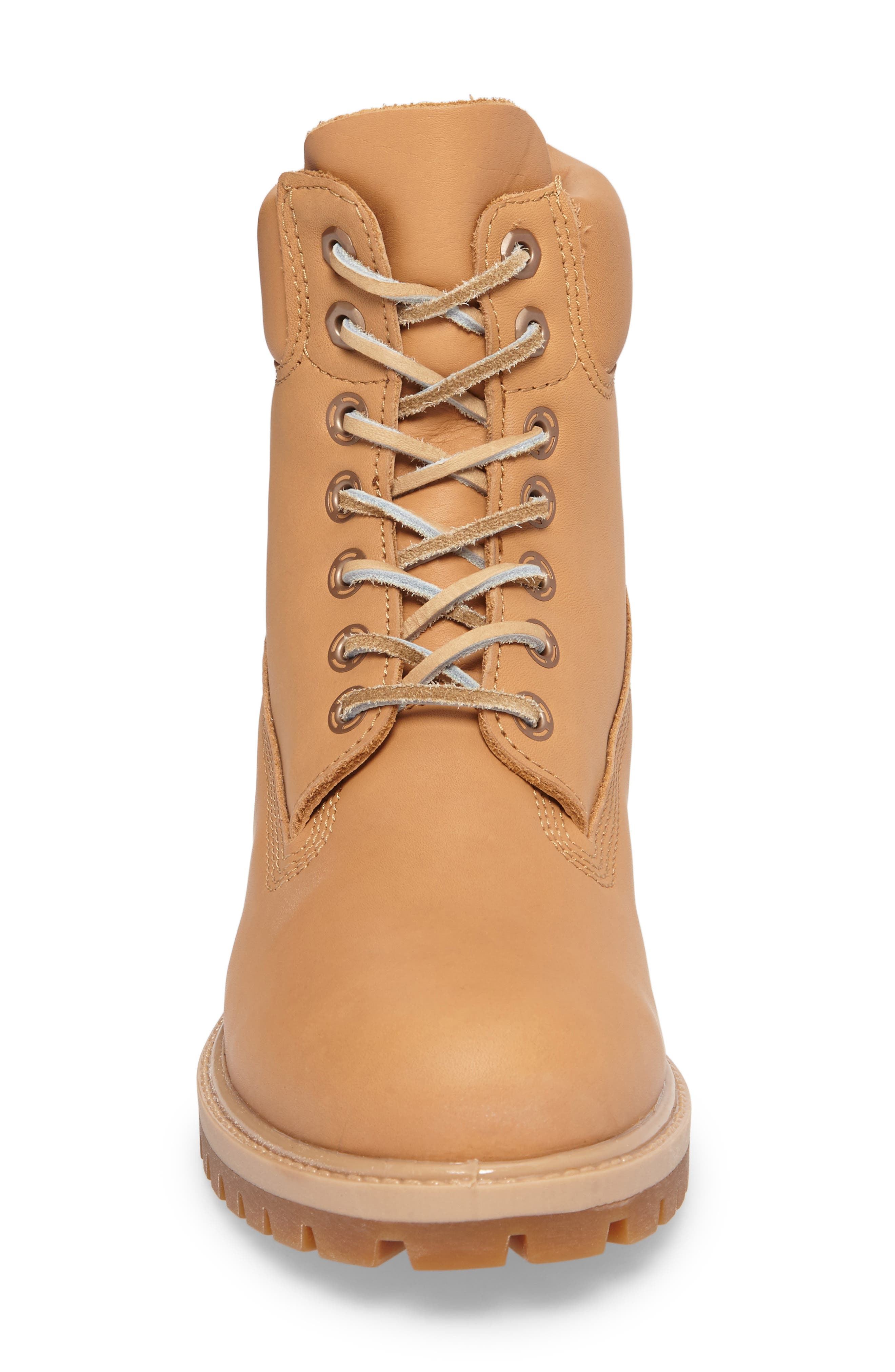 Premium Waterproof Plain Toe Boot,                             Alternate thumbnail 4, color,                             Natural Leather
