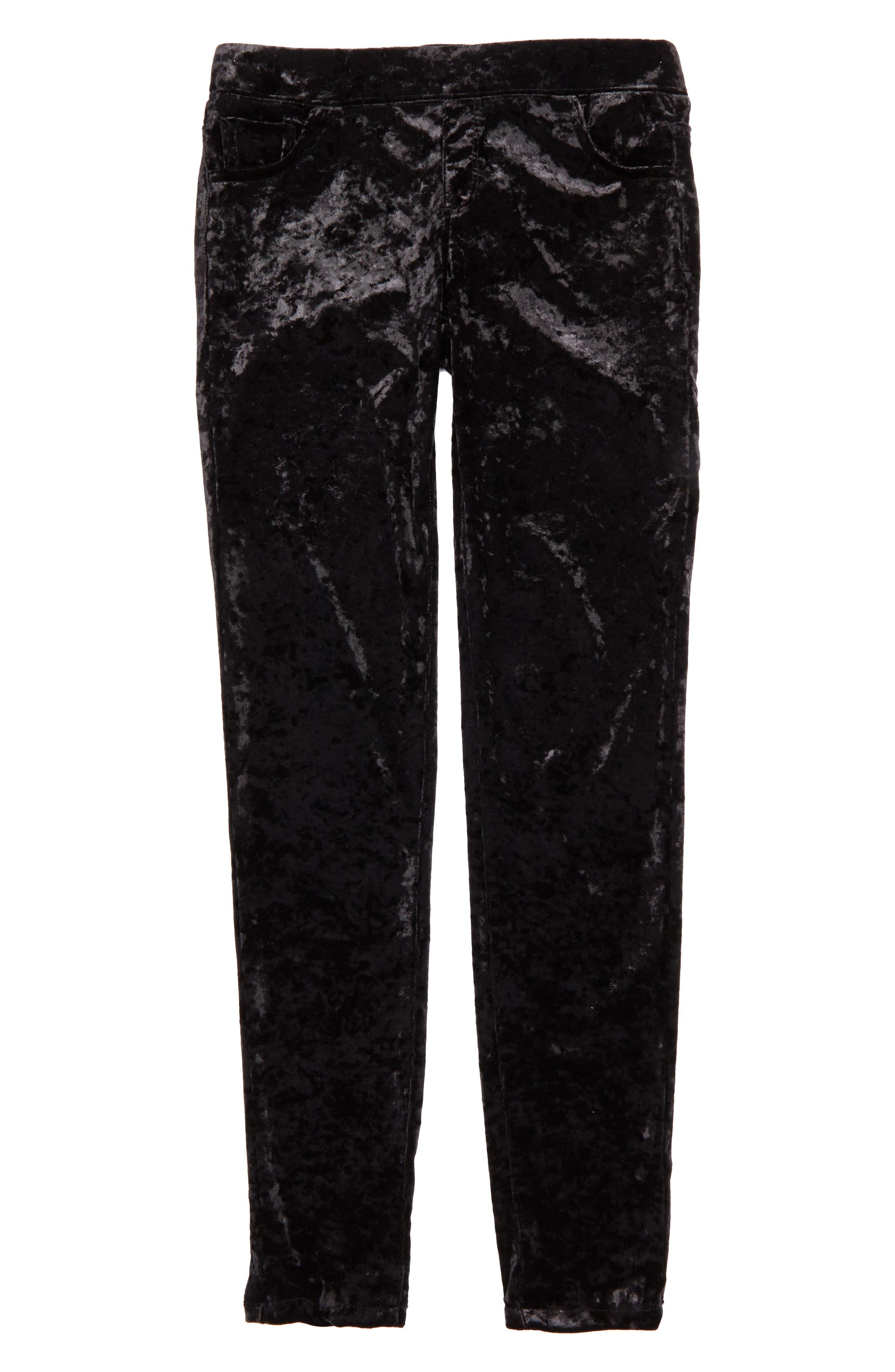 Crushed Velvet Skinny Pants,                         Main,                         color, Black