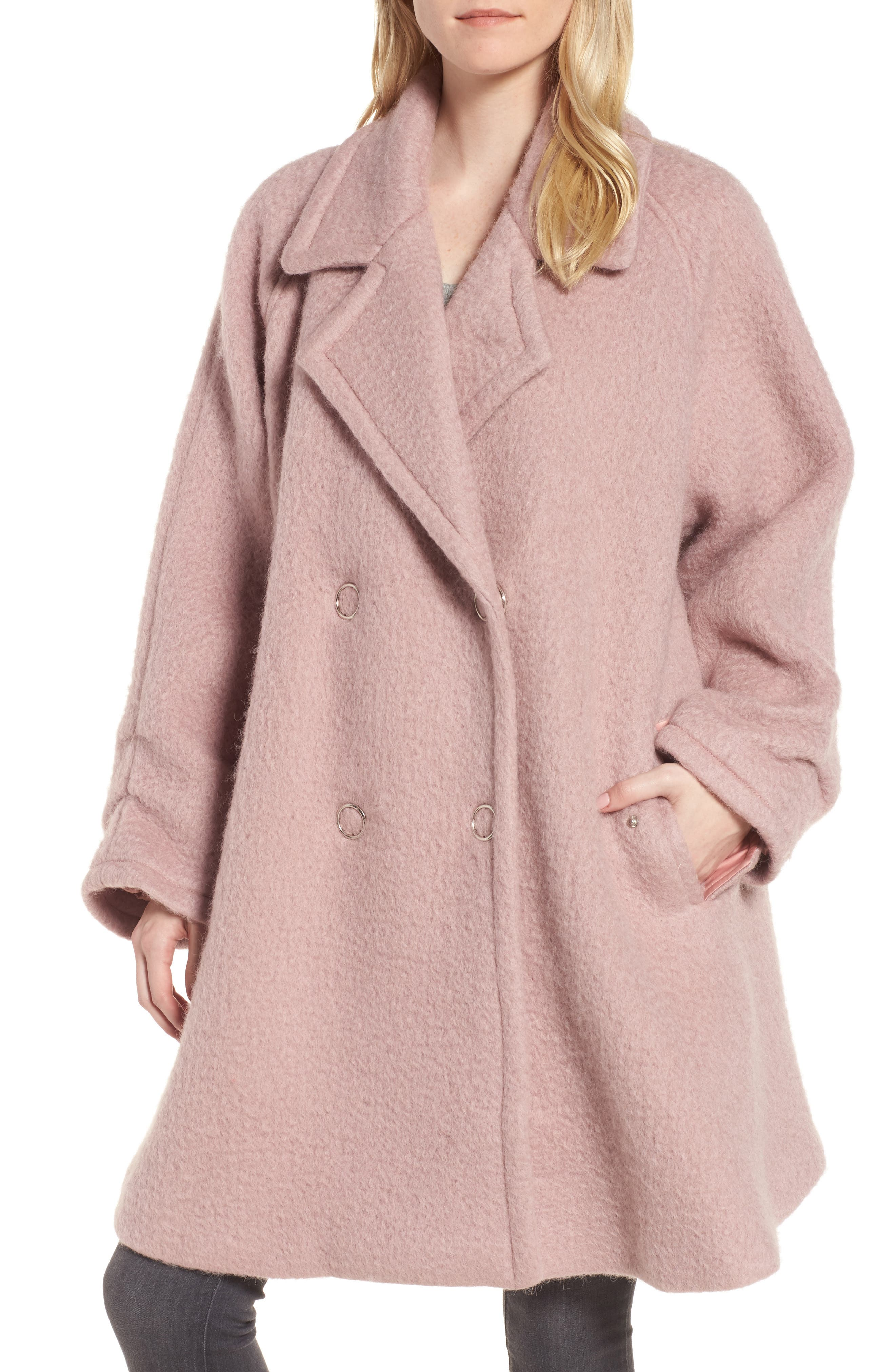 Swing Coat,                             Main thumbnail 1, color,                             Light Pink
