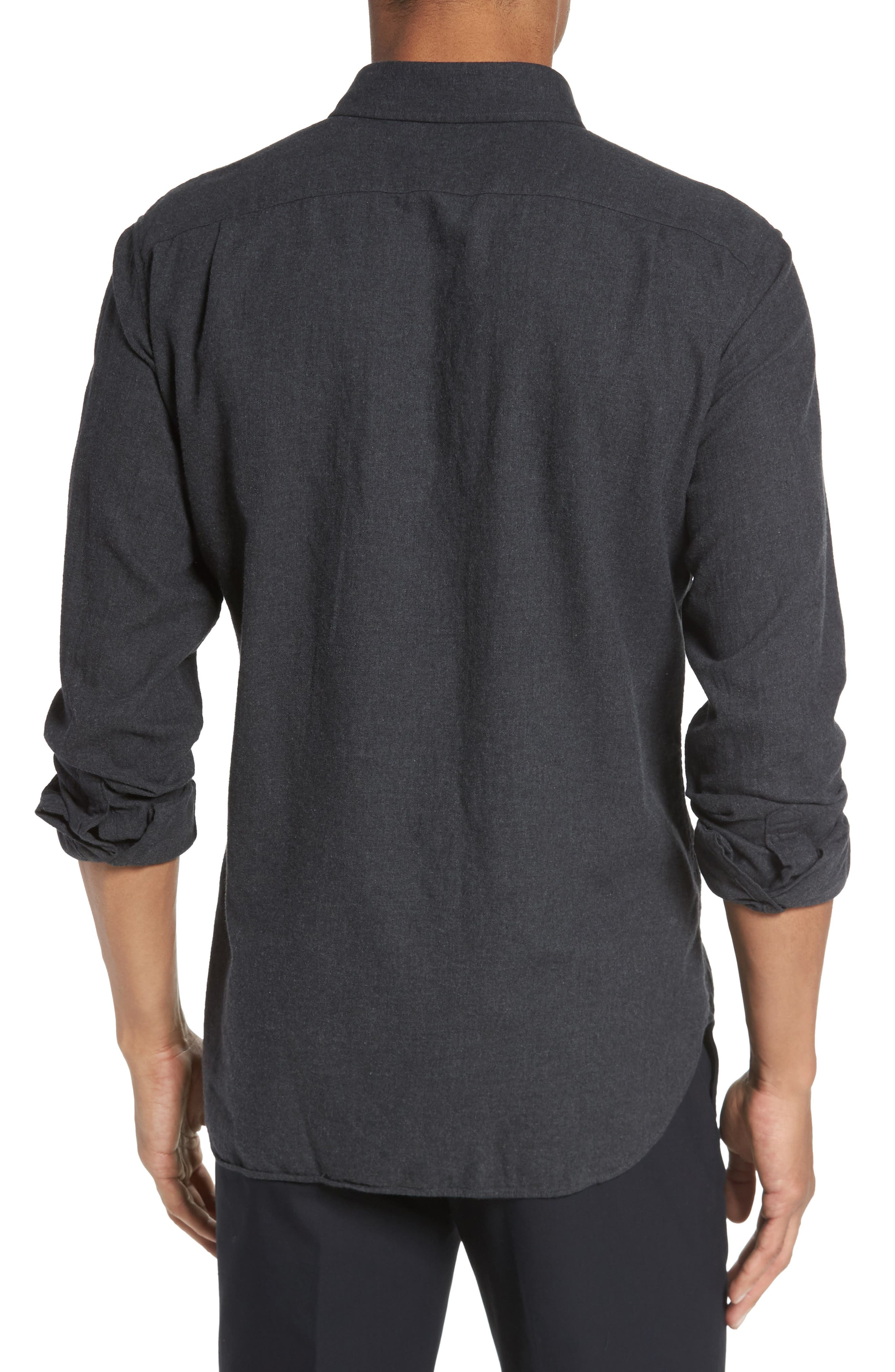 Slim Fit Brushed Twill Sport Shirt,                             Alternate thumbnail 3, color,                             Heather Charcoal