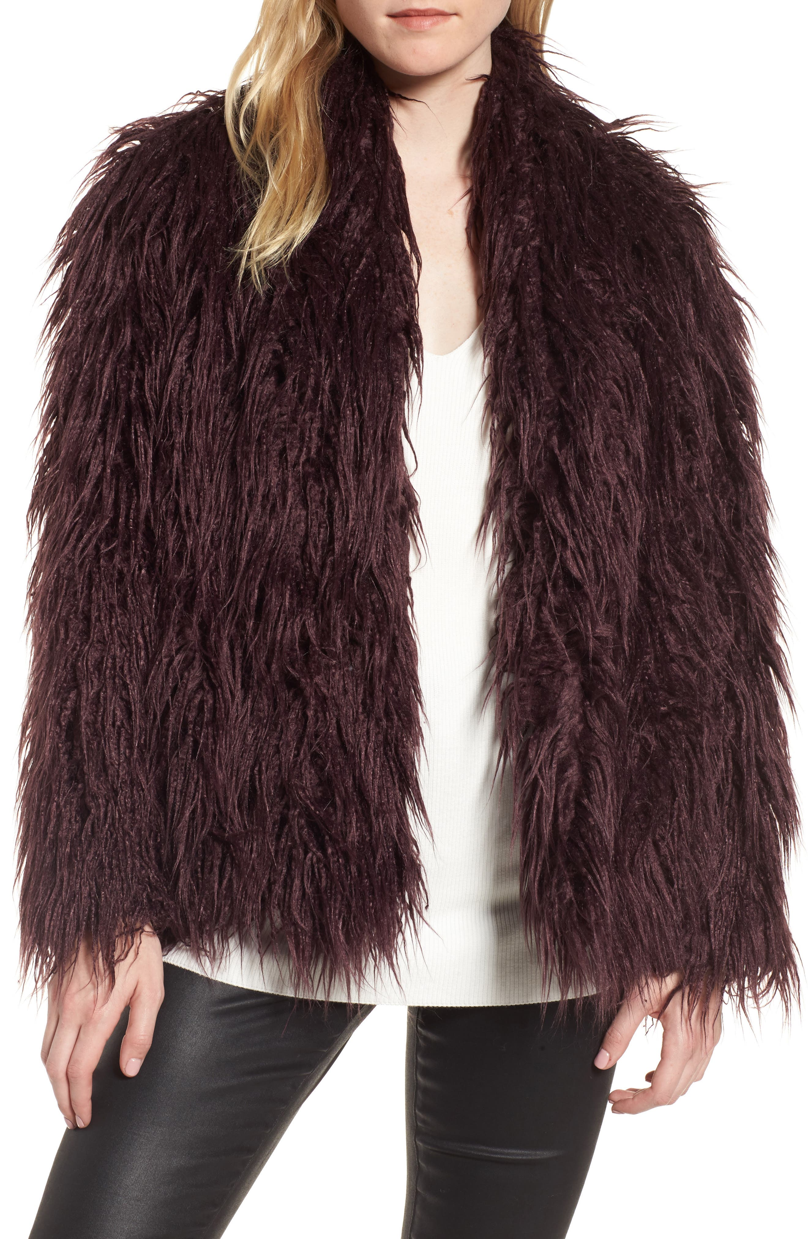 Shaggy Faux Fur Jacket,                             Main thumbnail 1, color,                             Burgundy Stem