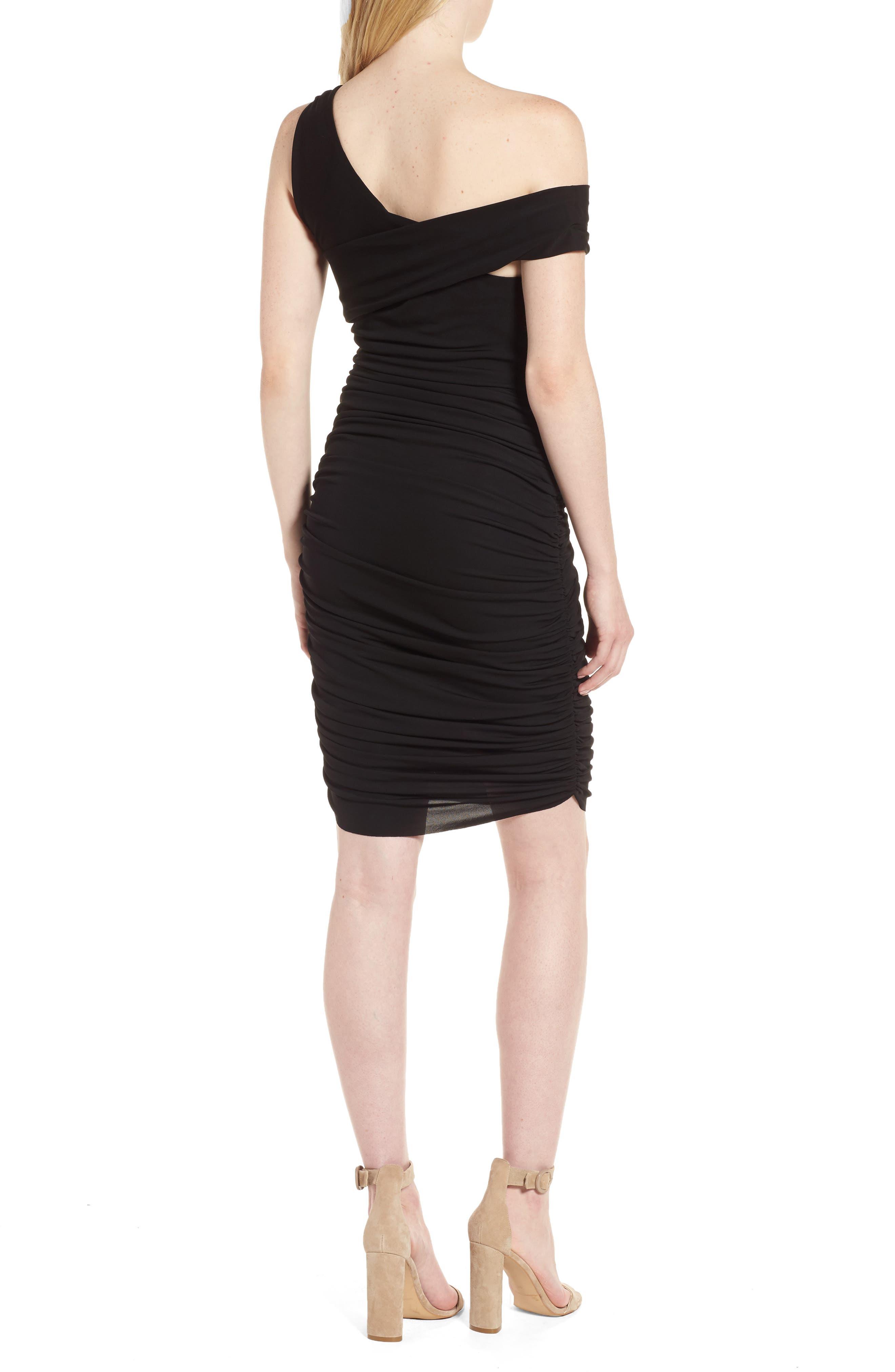 Off the Shoulder Twist Dress,                             Alternate thumbnail 2, color,                             Black