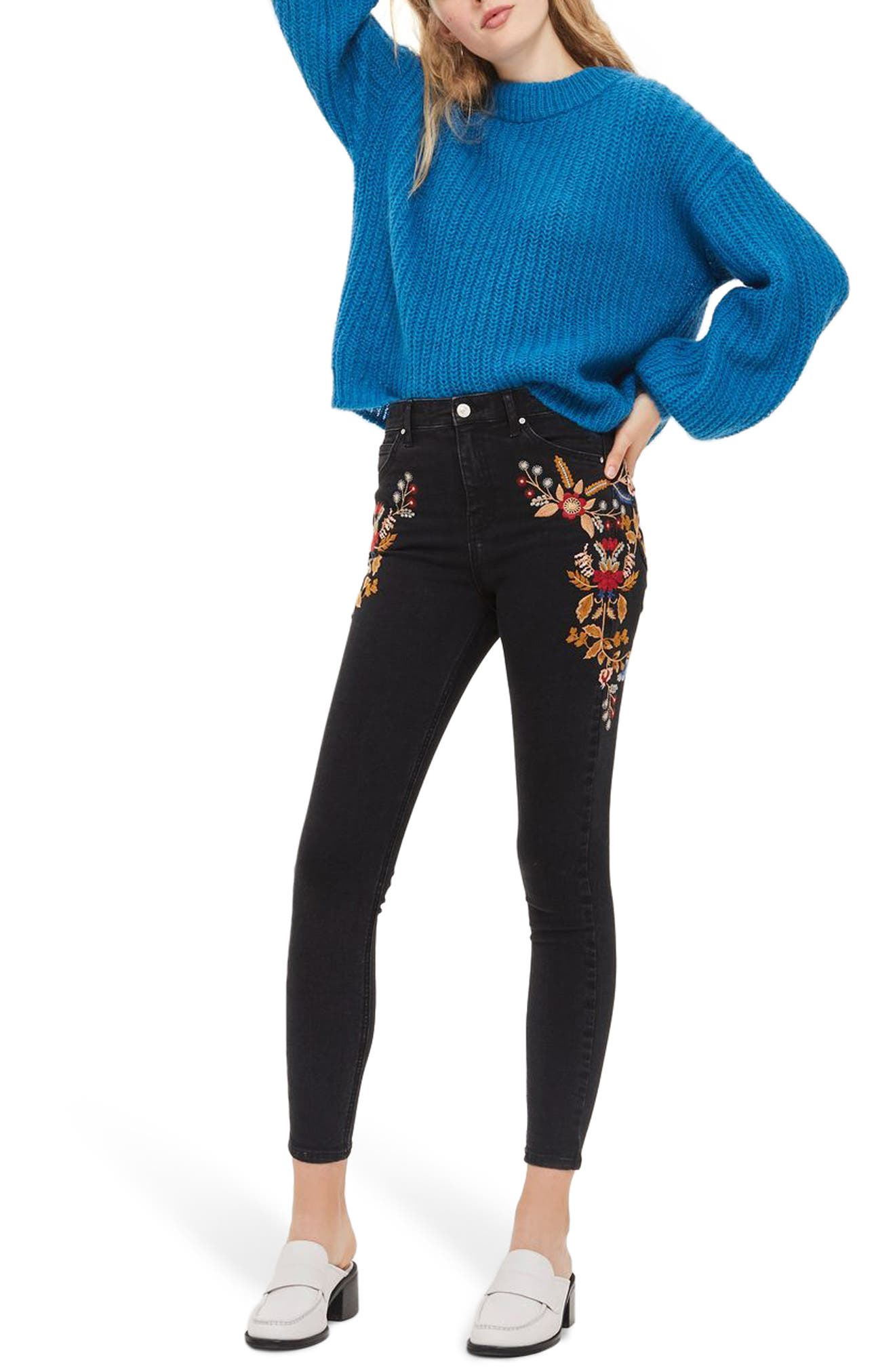 Jamie Embroidered High Waist Skinny Jeans,                         Main,                         color, Washed Black Multi