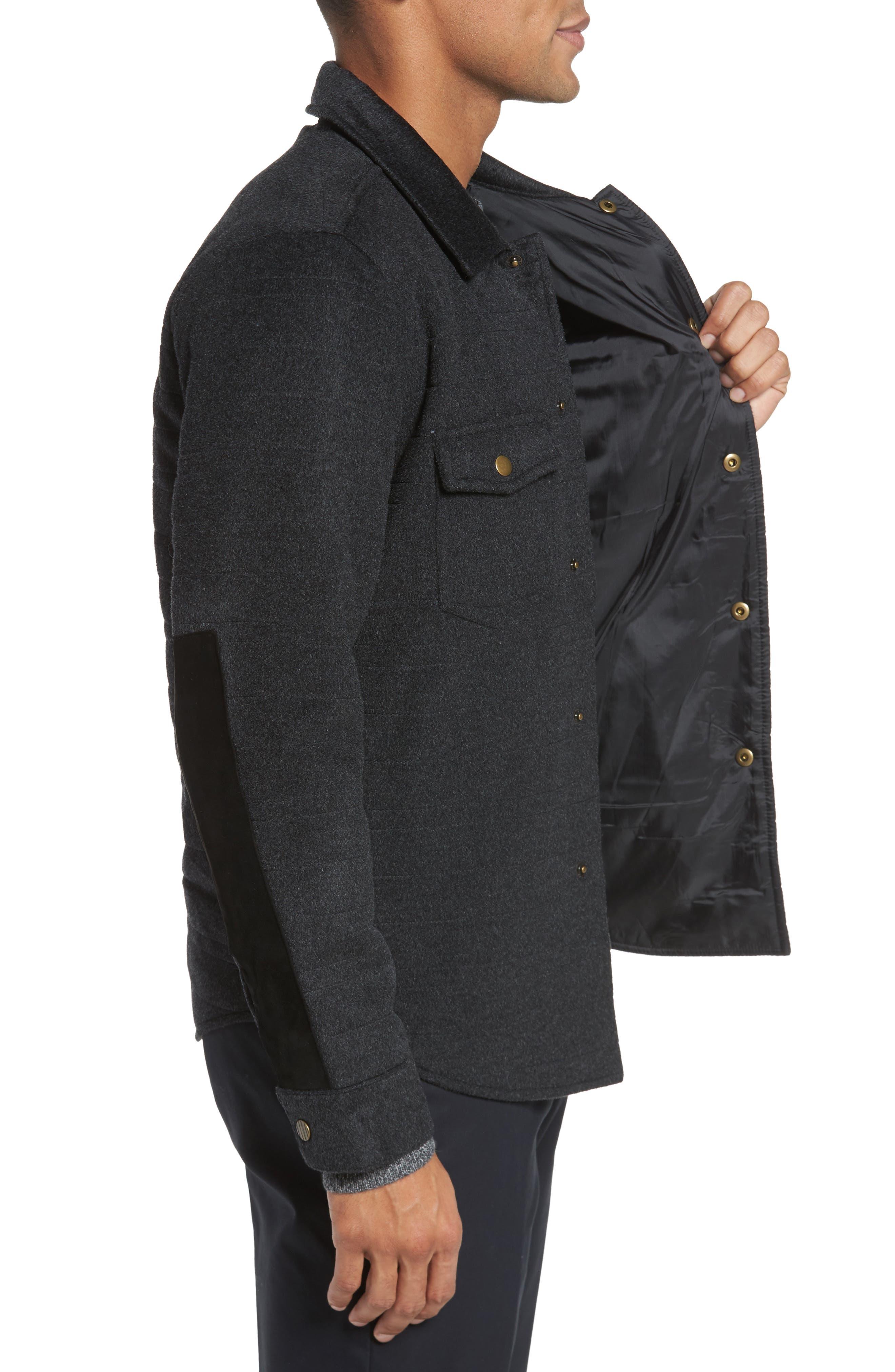Michael Slim Fit Quilted Shirt Jacket,                             Alternate thumbnail 3, color,                             Dark Char Melange