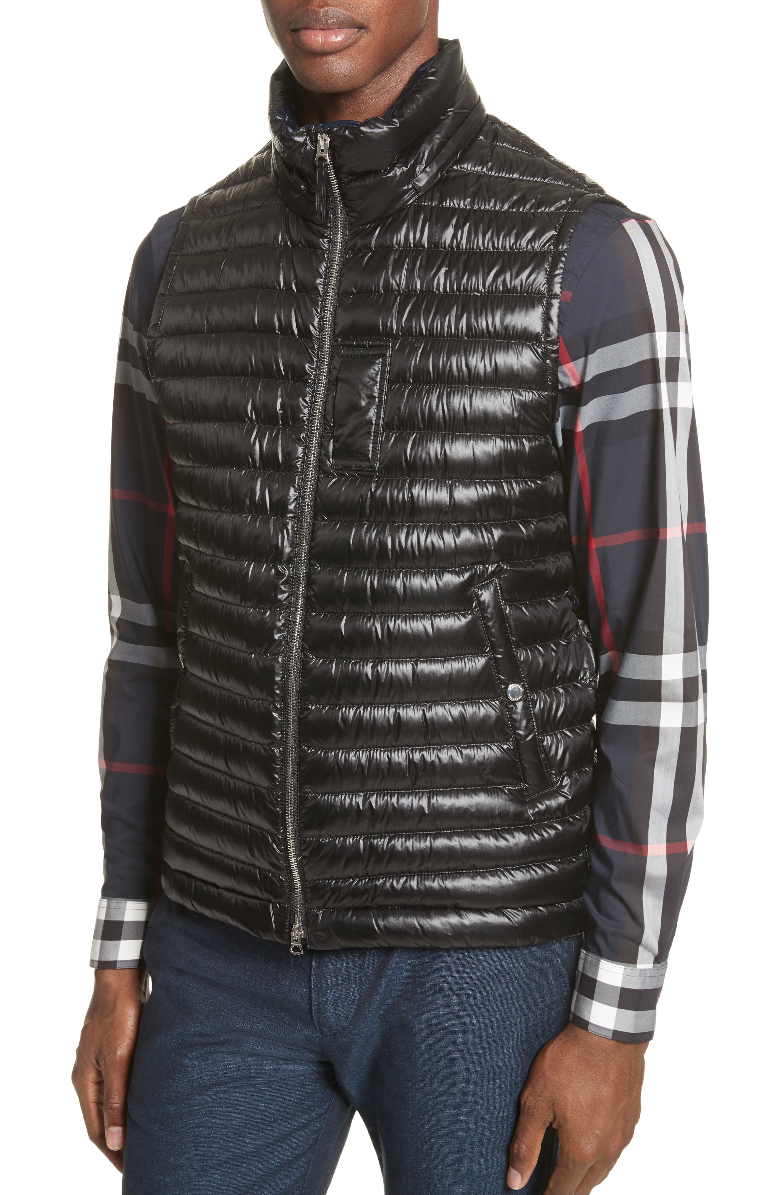 Aldridge Quilted Vest with Removable Hood,                             Alternate thumbnail 4, color,                             Black