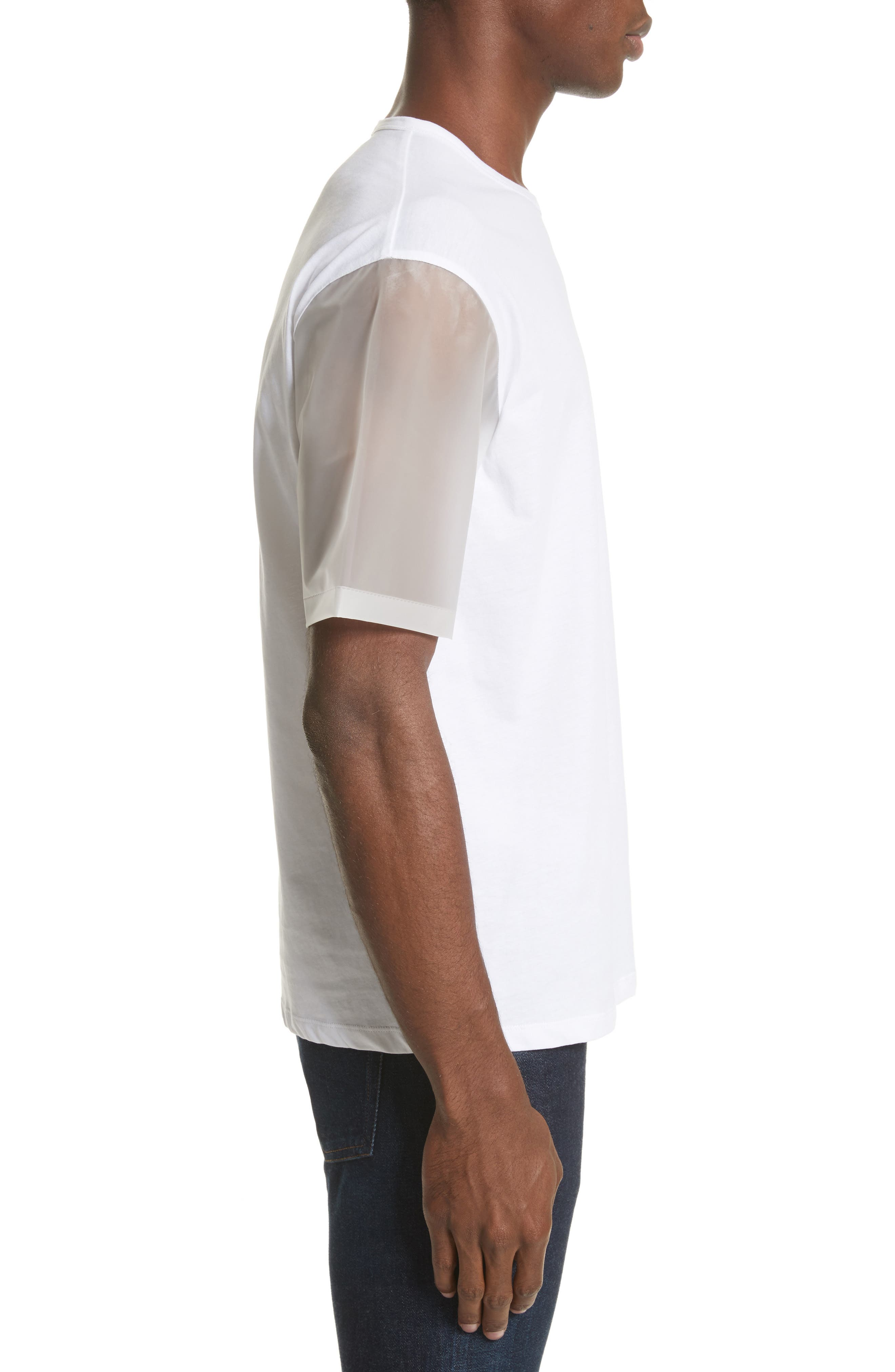 Plastic Sleeve T-Shirt,                             Alternate thumbnail 3, color,                             White