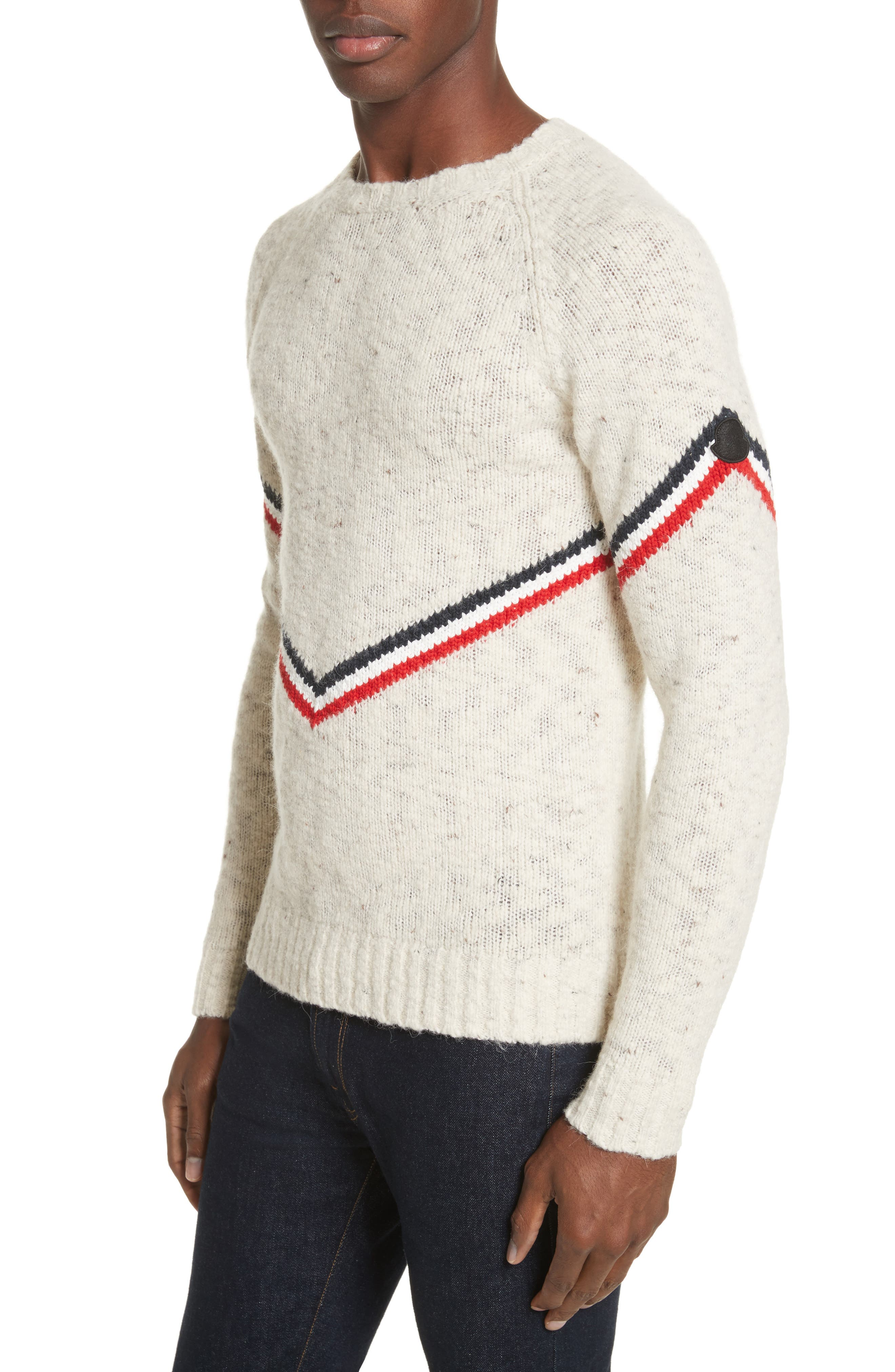 Stripe Donegal Crewneck Sweater,                         Main,                         color, Off White