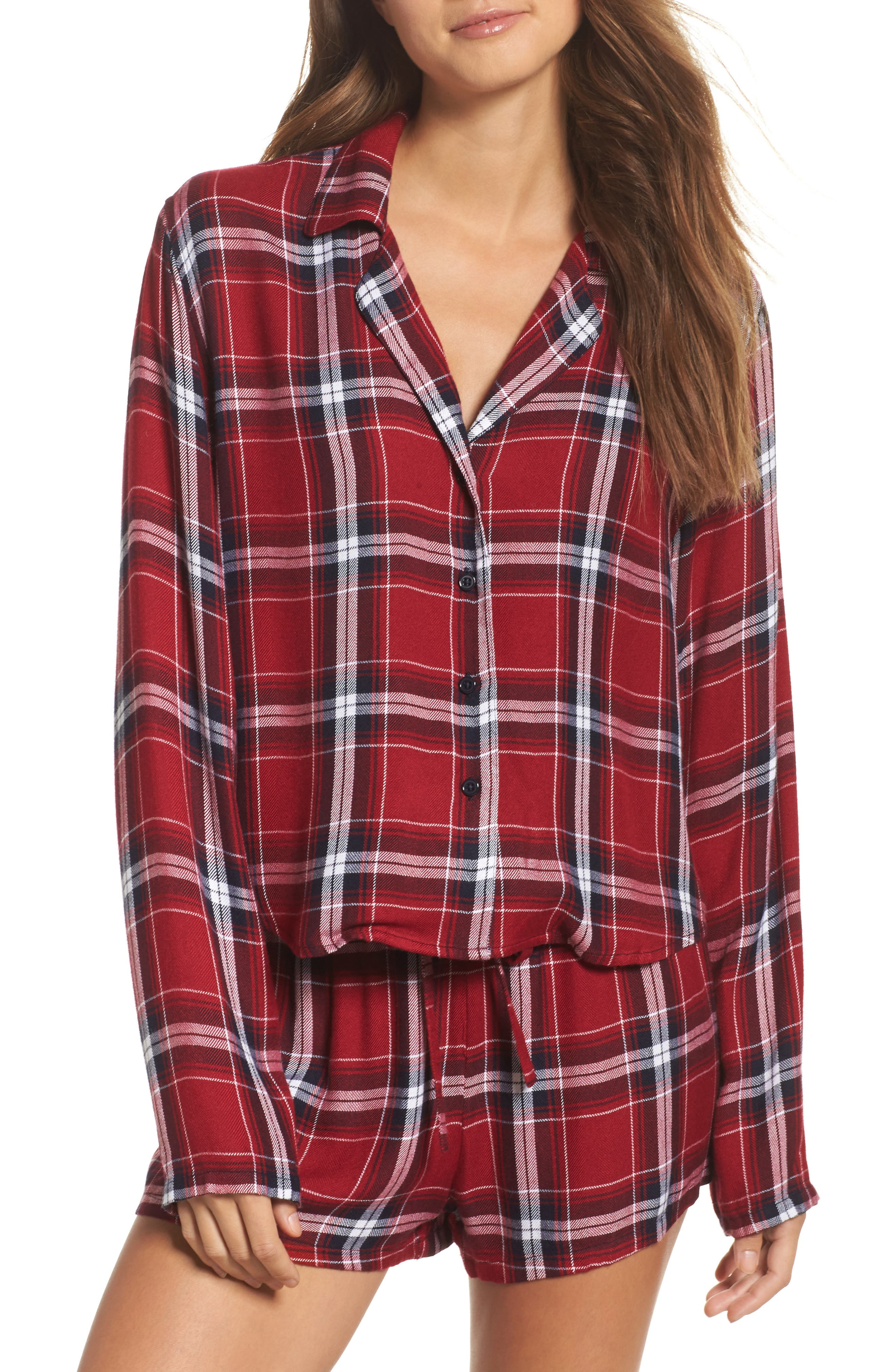 Plaid Short Pajamas,                         Main,                         color, Crimson/ Navy