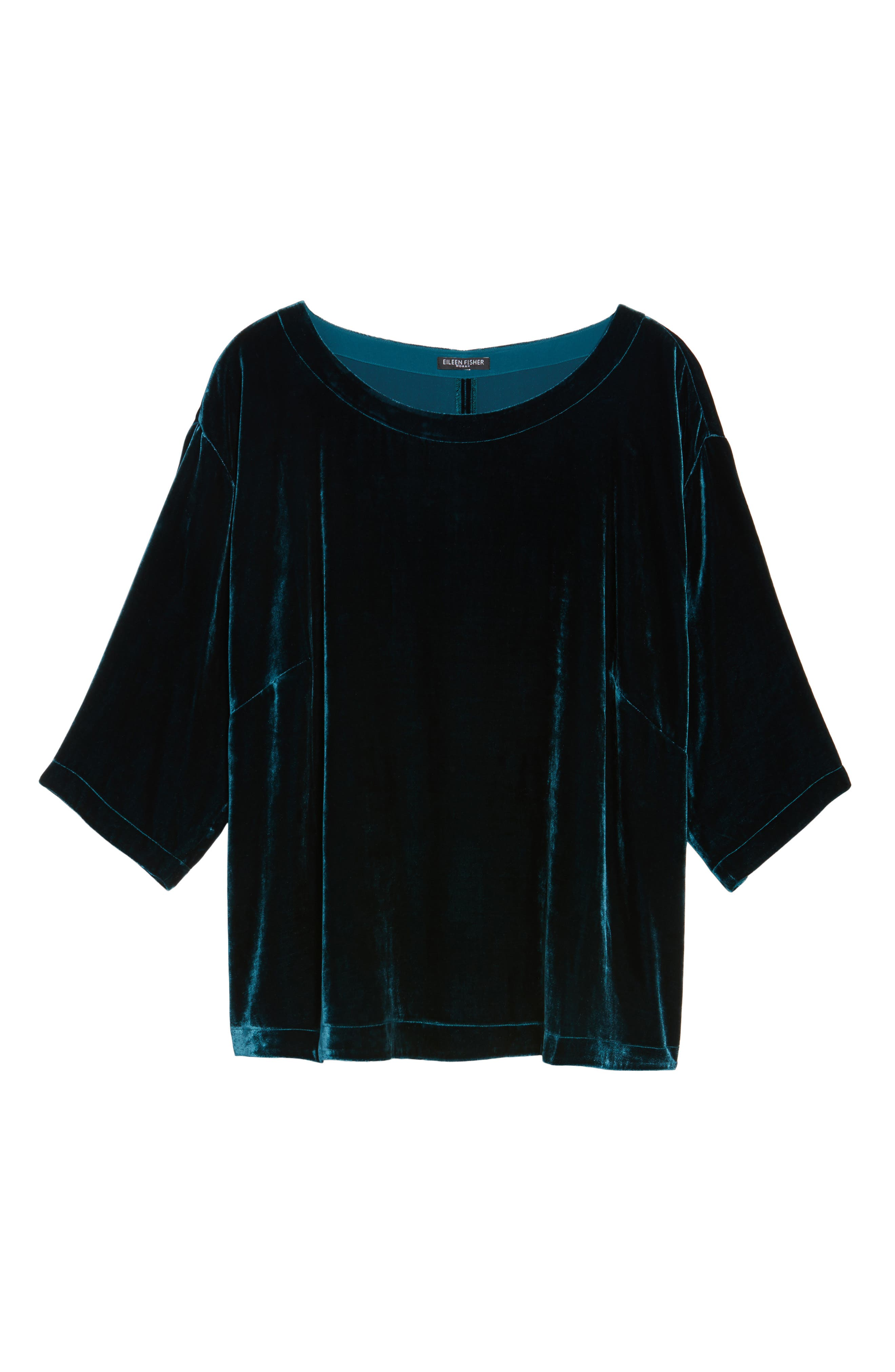 Boxy Velvet Top,                             Alternate thumbnail 6, color,                             Blue