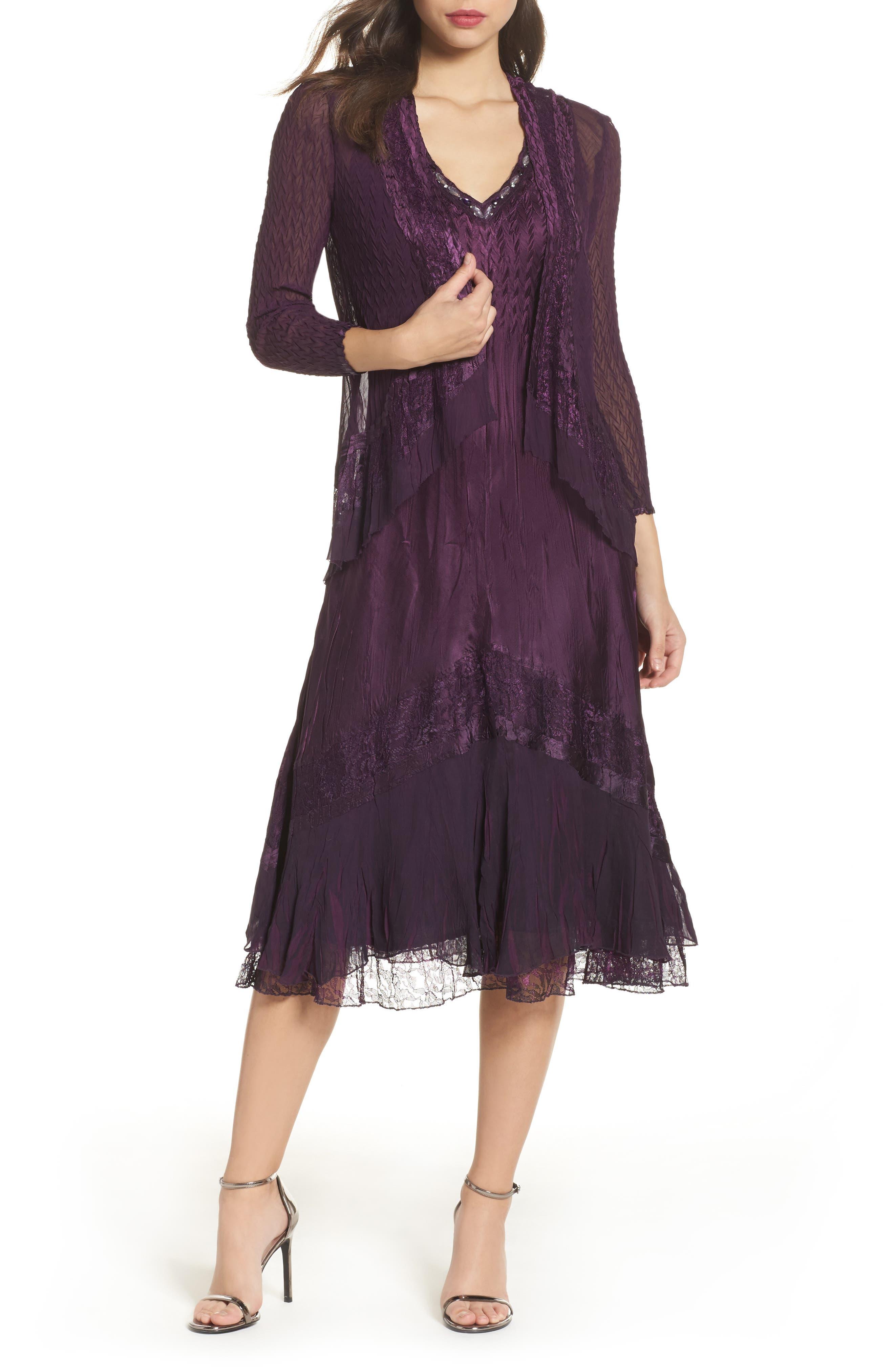 Mixed Media A-Line Dress & Jacket,                             Main thumbnail 1, color,                             Aubergine Night Ombre