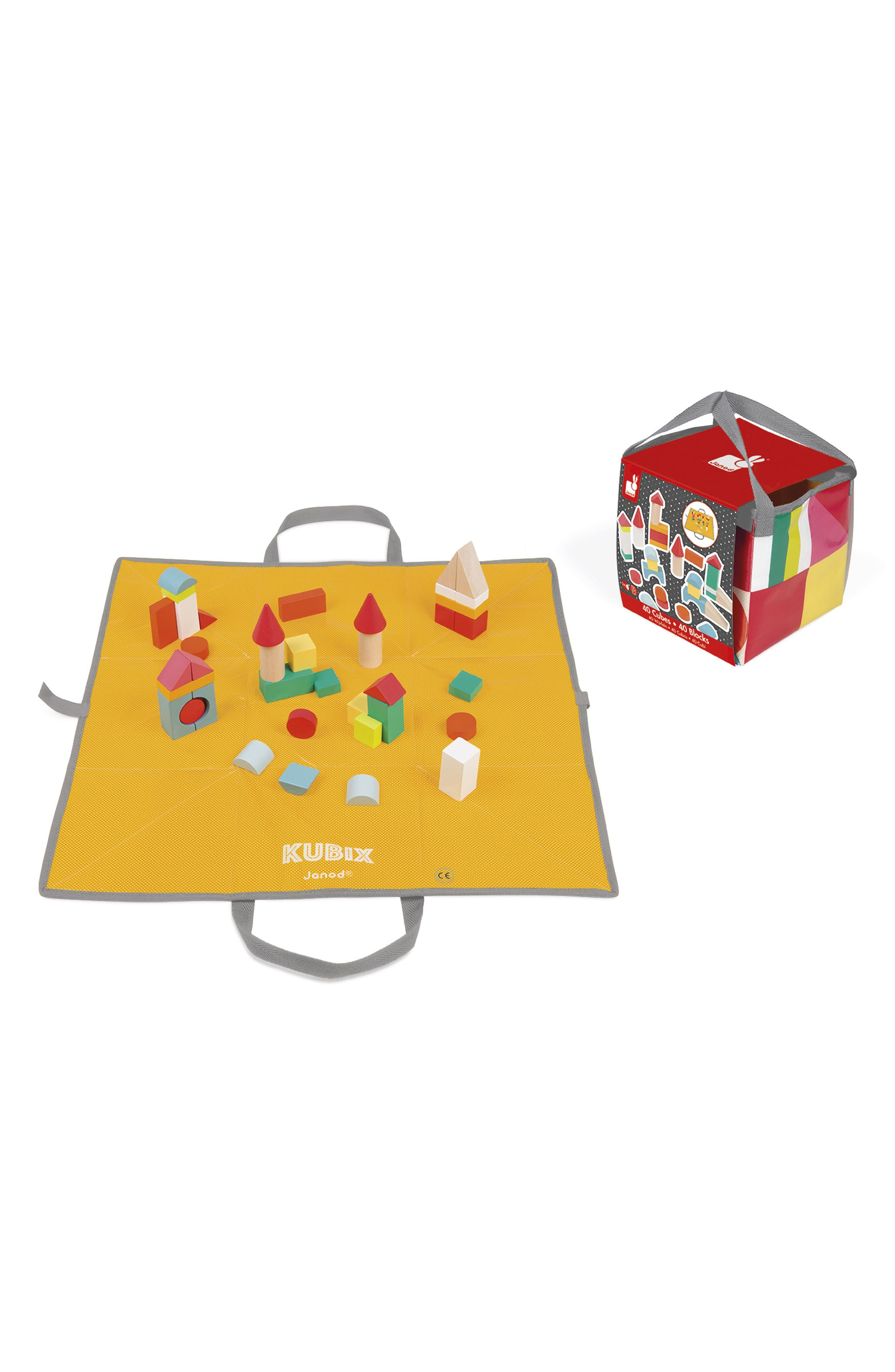 Kubix 41-Piece Block & Play Mat Set,                             Alternate thumbnail 3, color,                             Red Multi