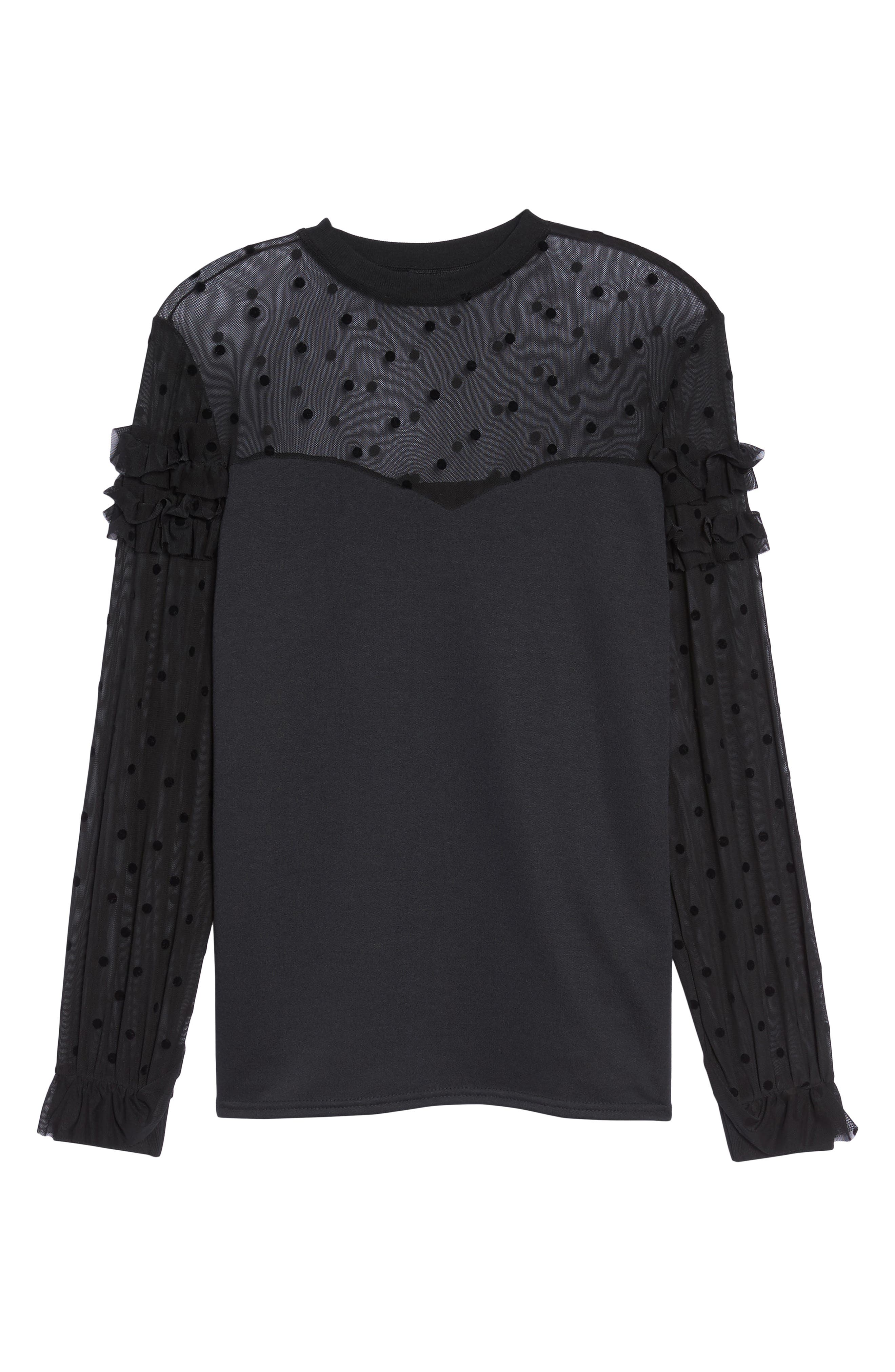 Dot Mesh Sweater,                             Alternate thumbnail 6, color,                             Black