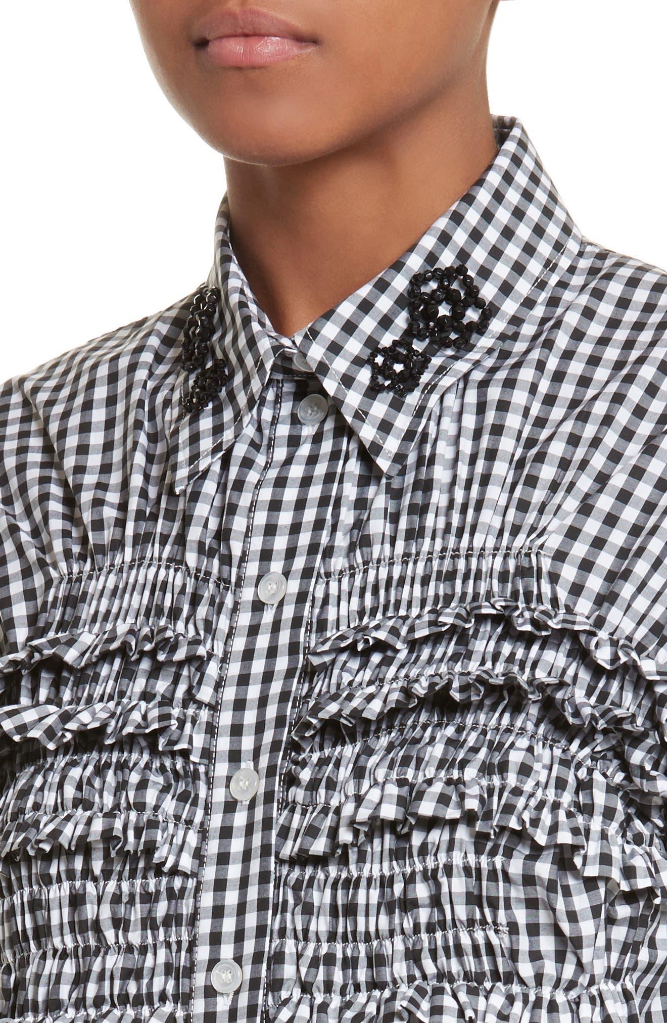 Beaded Smock Front Shirt,                             Alternate thumbnail 4, color,                             Black White Black
