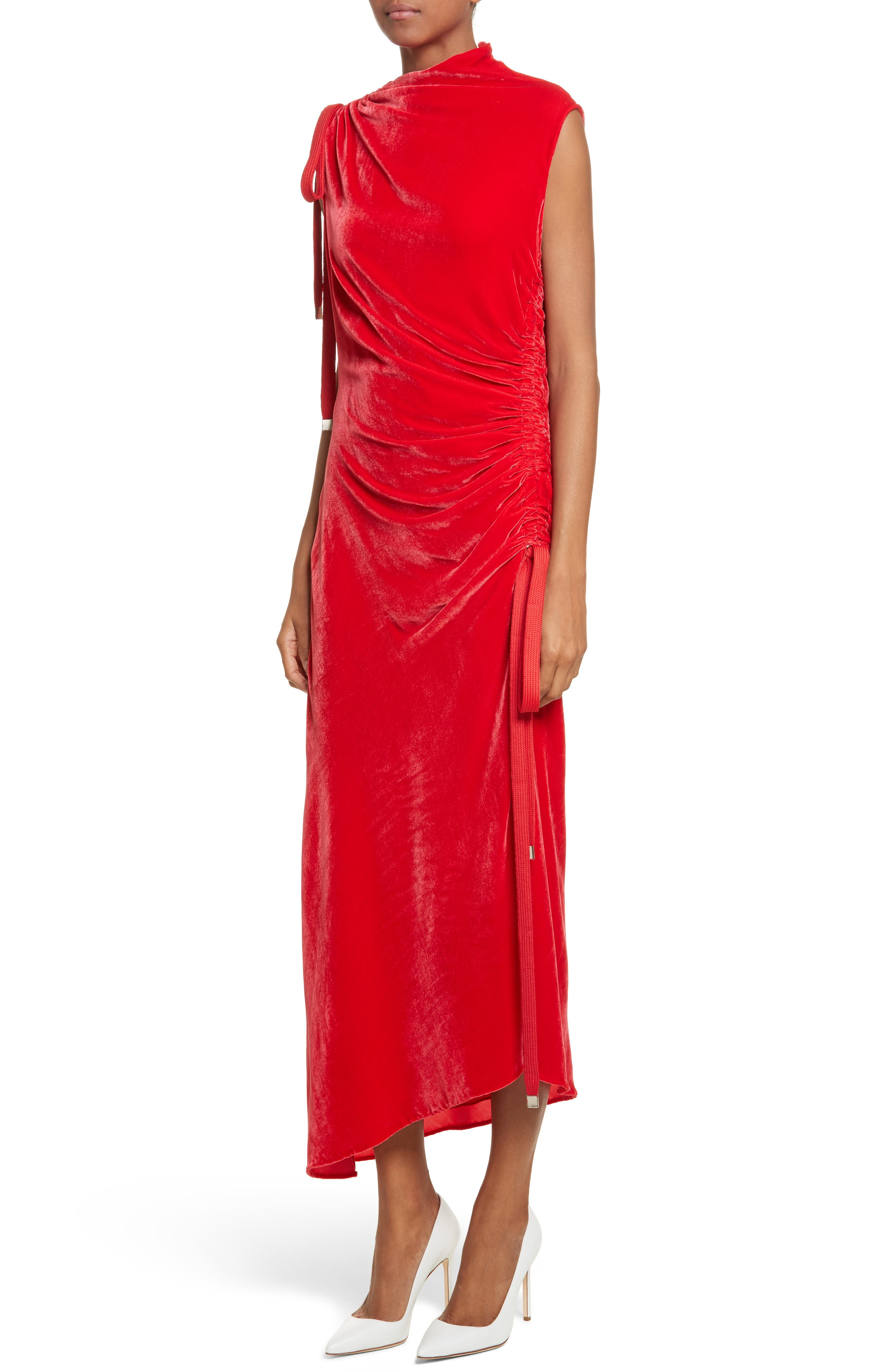 Drawstring Velvet Dress,                             Alternate thumbnail 4, color,                             Red