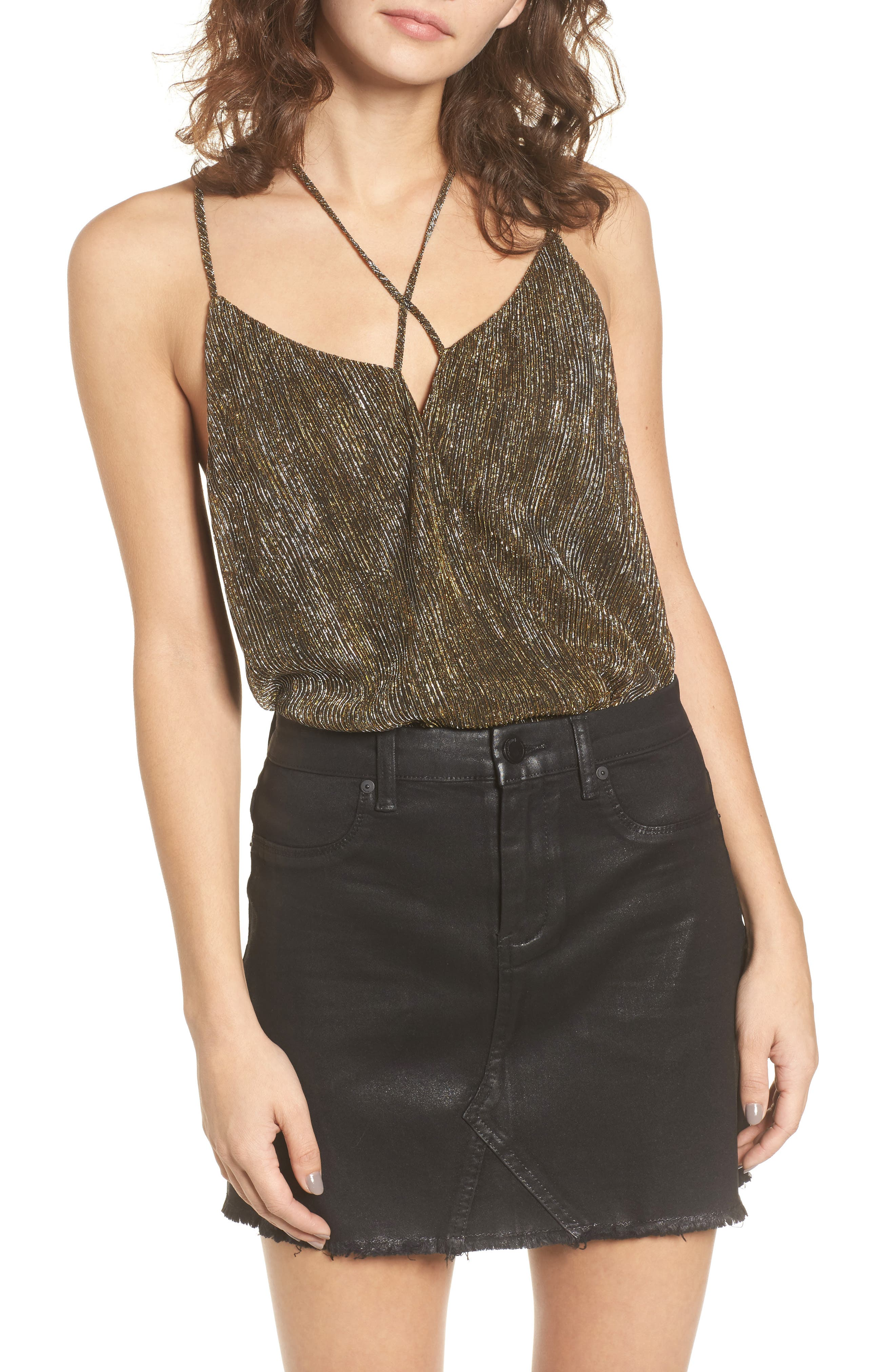 Strappy Metallic Bodysuit,                         Main,                         color, Gold