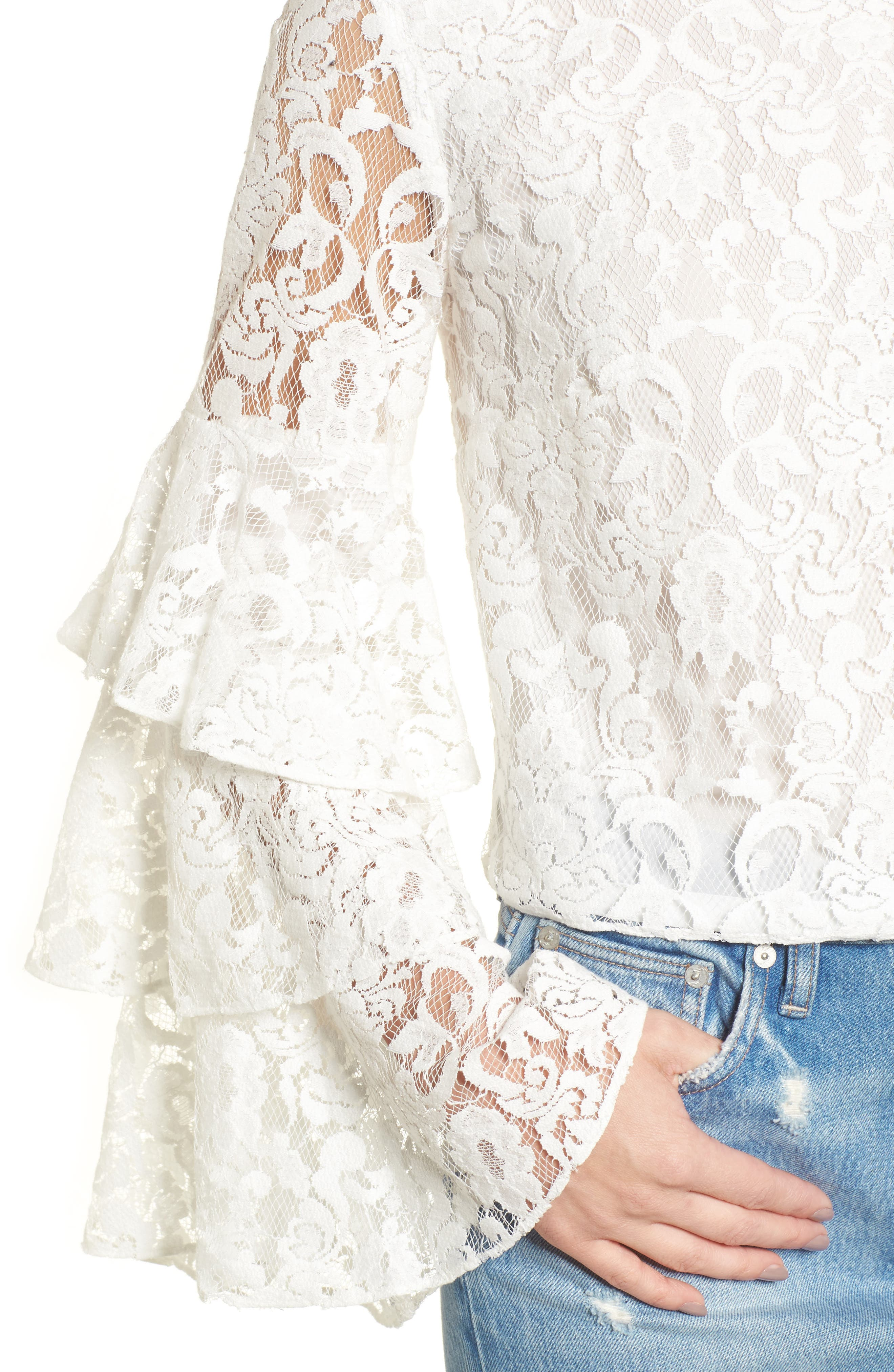 Ruffle Sleeve Lace Top,                             Alternate thumbnail 4, color,                             White Snow