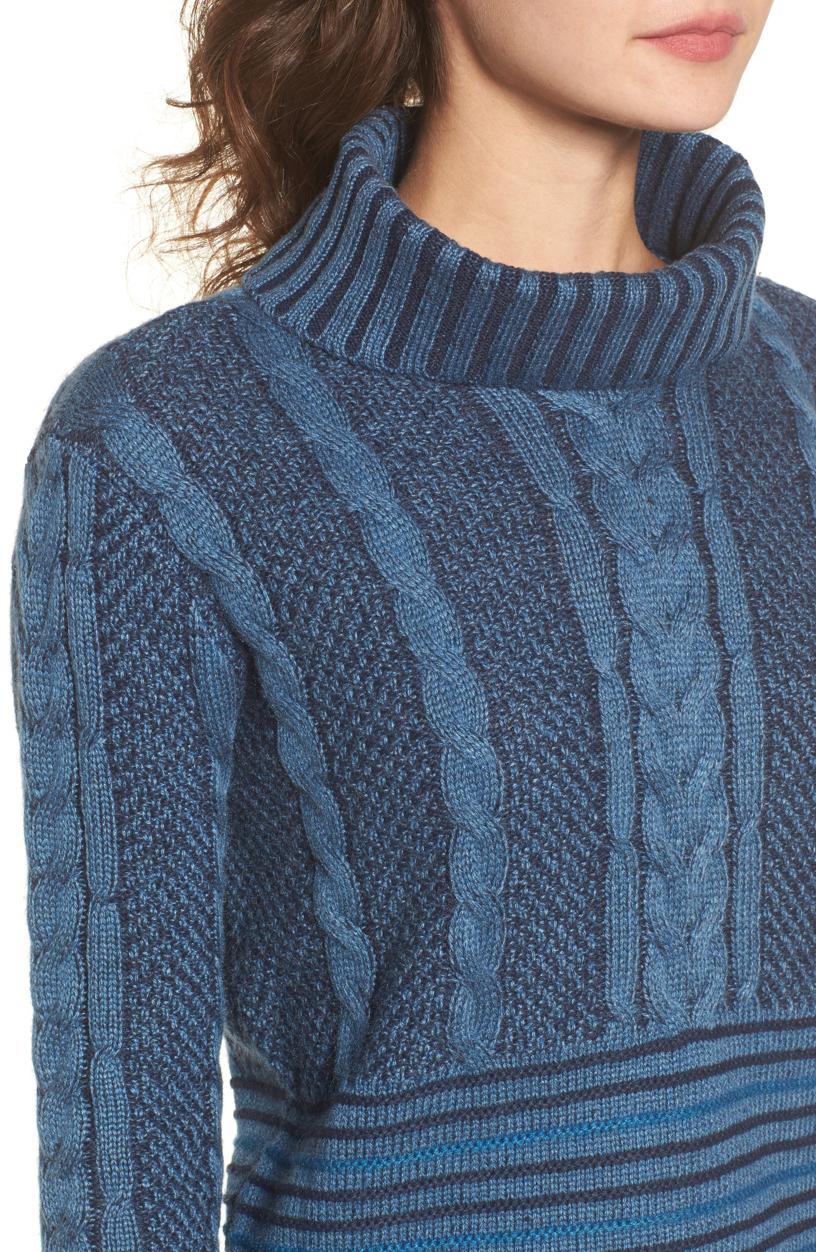 Mix Up Knit Sweater,                             Alternate thumbnail 4, color,                             Blue Heather