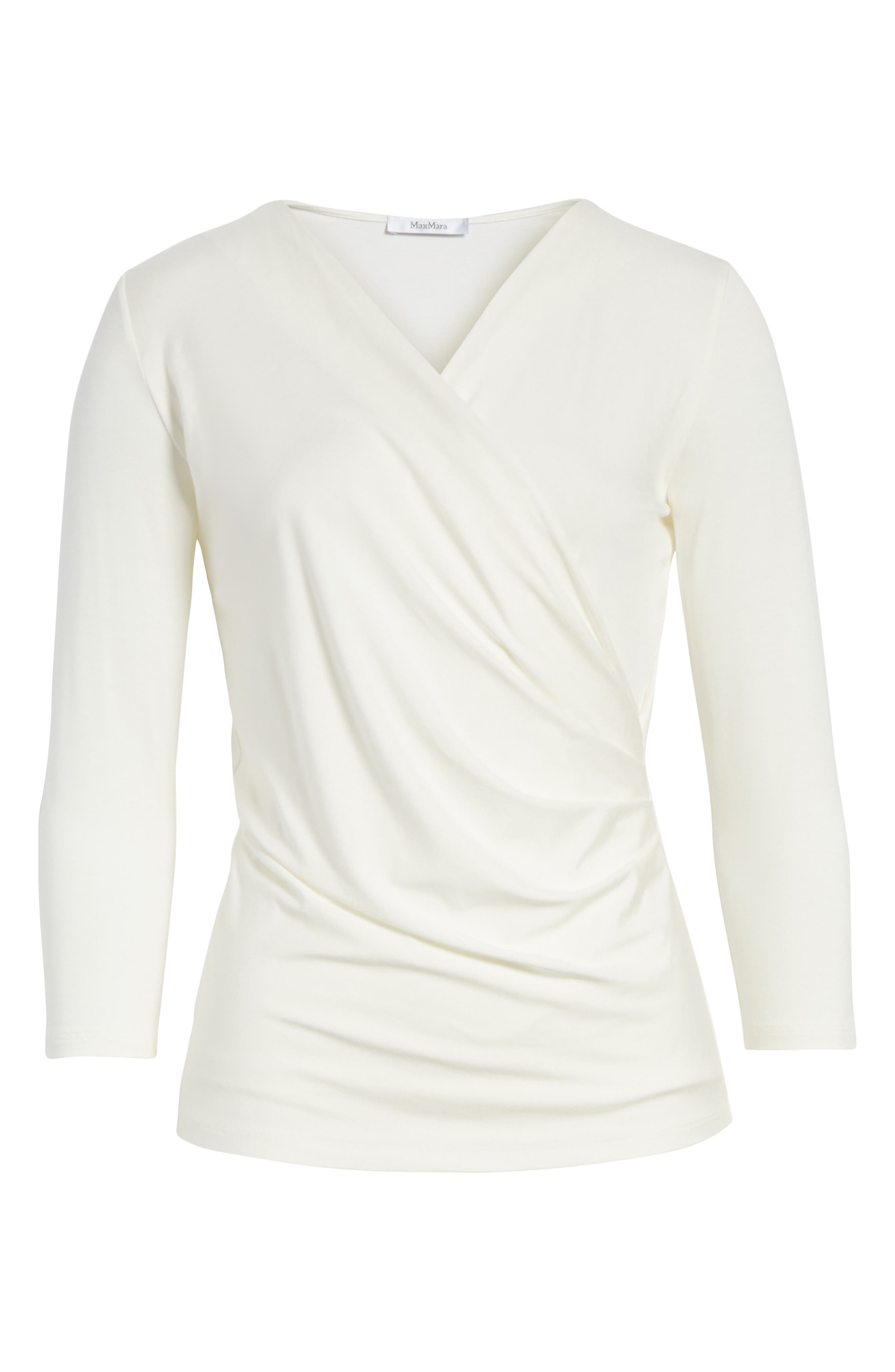 Caprice Faux Wrap Jersey Top,                             Alternate thumbnail 6, color,                             Silk