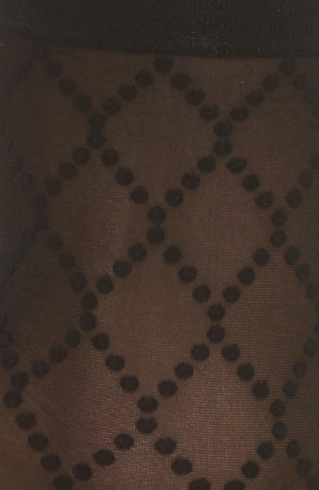 Dot Mesh Trouser Socks,                             Alternate thumbnail 2, color,                             Black/ Black