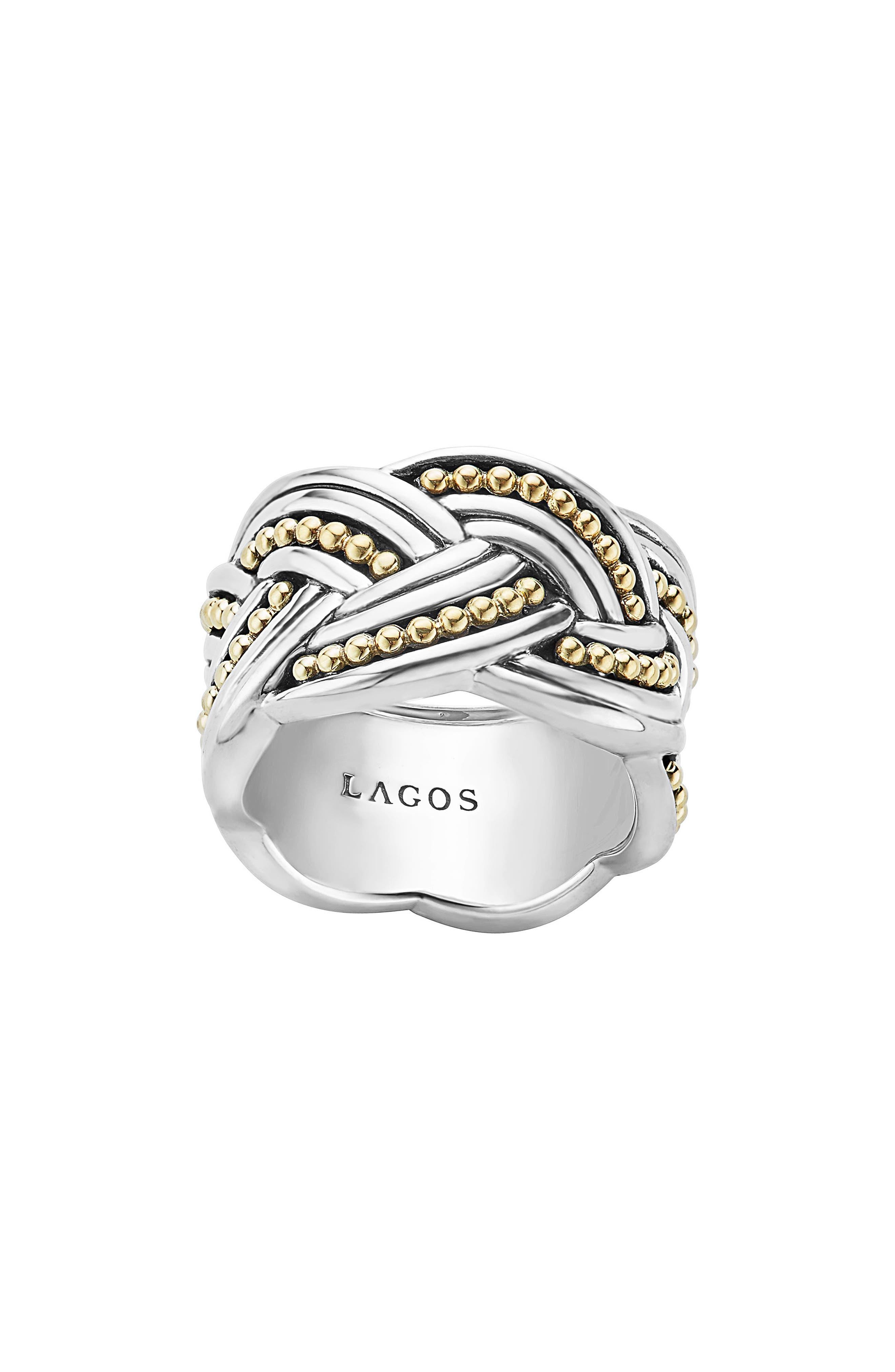 Torsade Knot Ring,                             Alternate thumbnail 3, color,                             Silver/ Gold