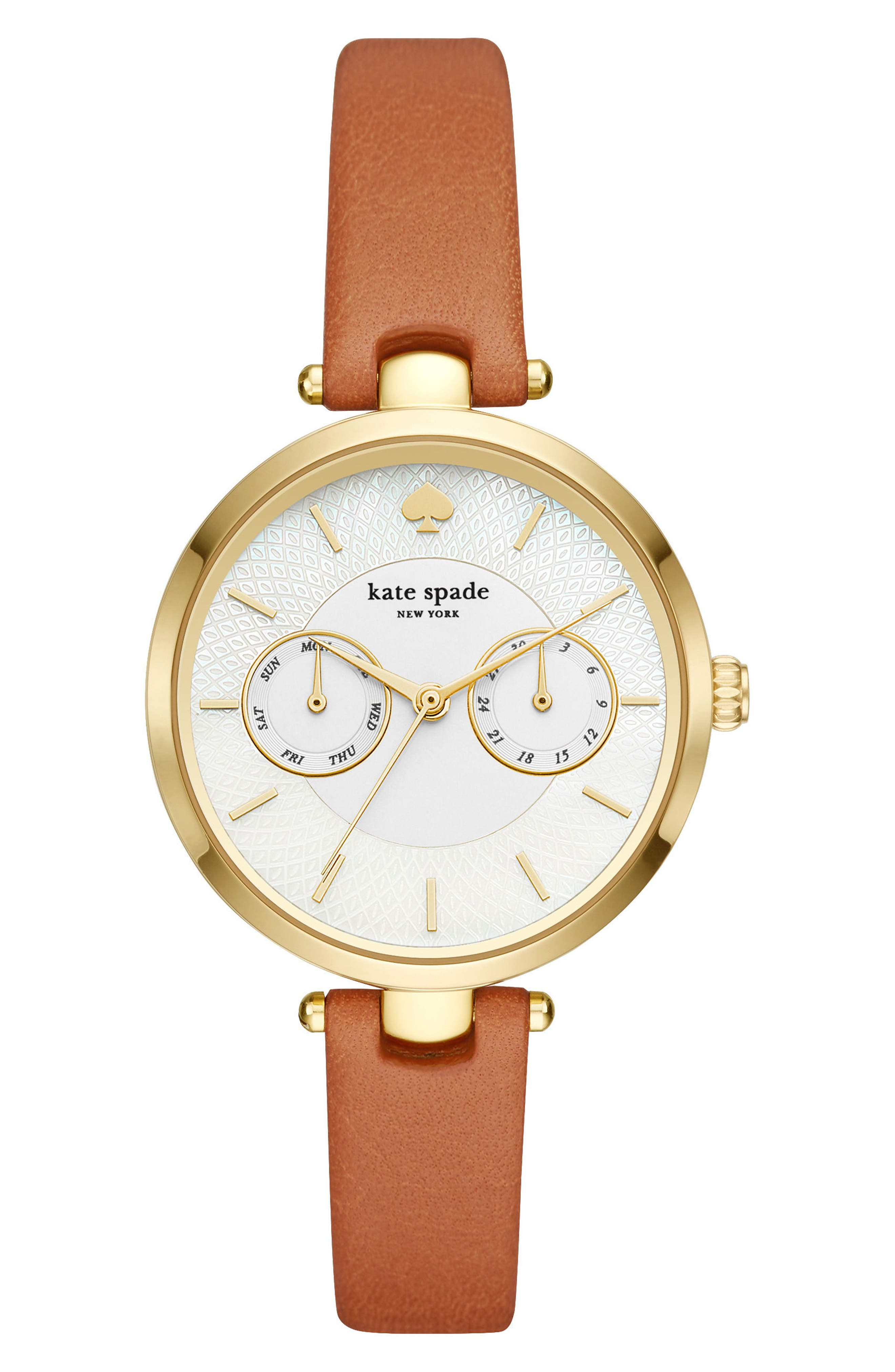 holland leather strap watch, 34mm,                         Main,                         color, Brown/ Mop/ Gold