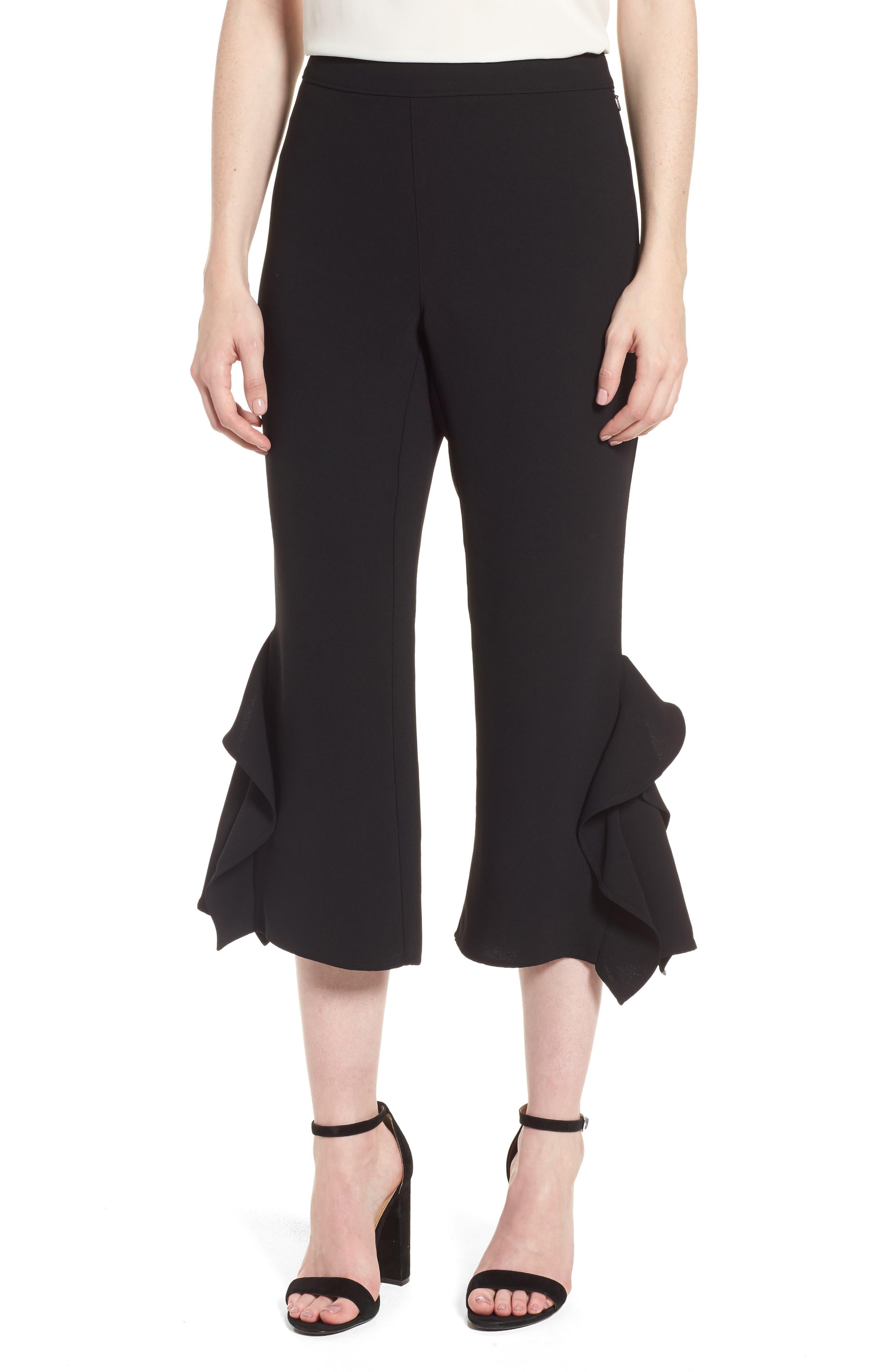 Ruffle Crop Pants,                             Main thumbnail 1, color,                             Black