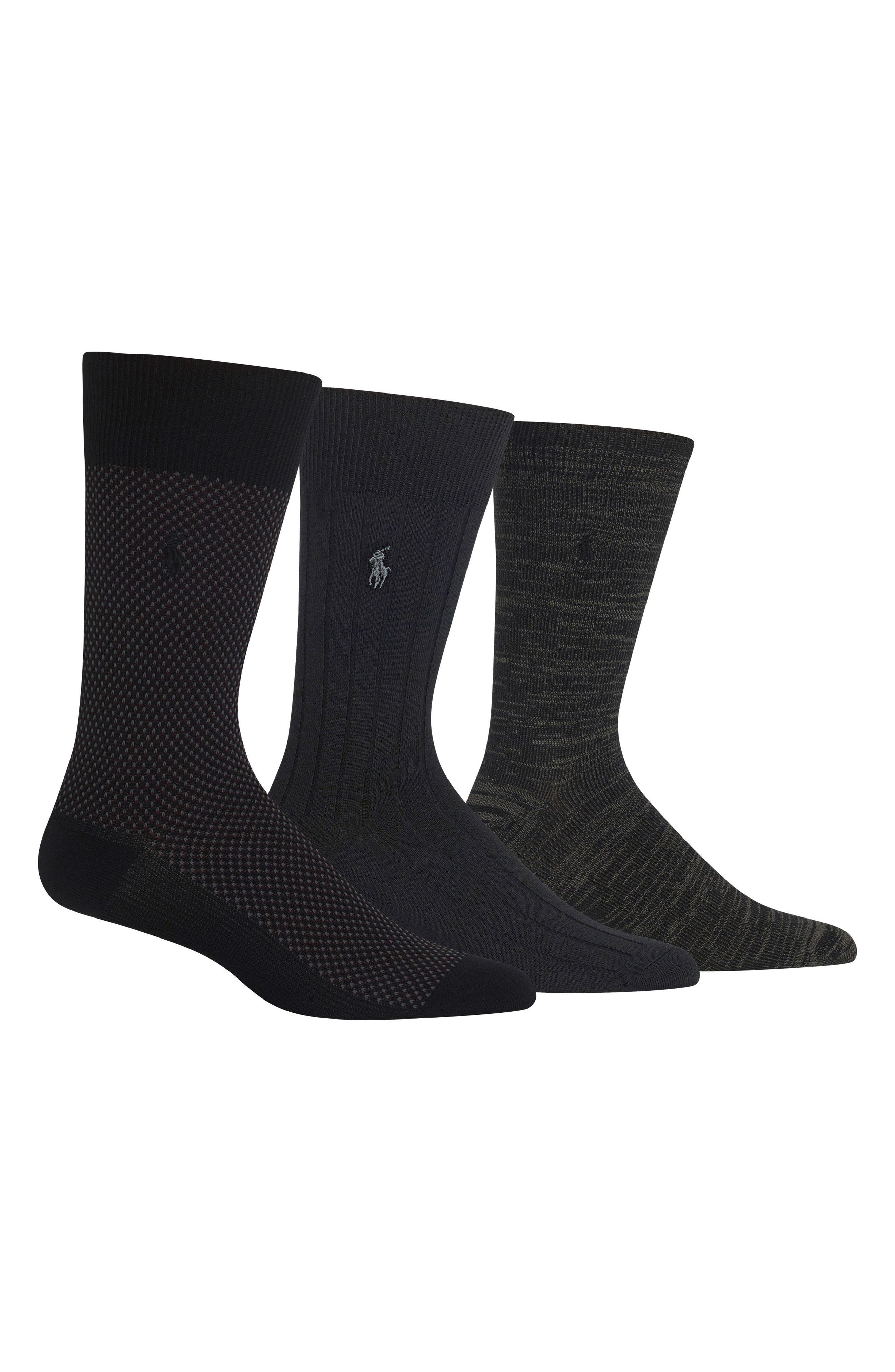 Supersoft Bird's Eye Assorted 3-Pack Socks,                             Main thumbnail 1, color,                             Black