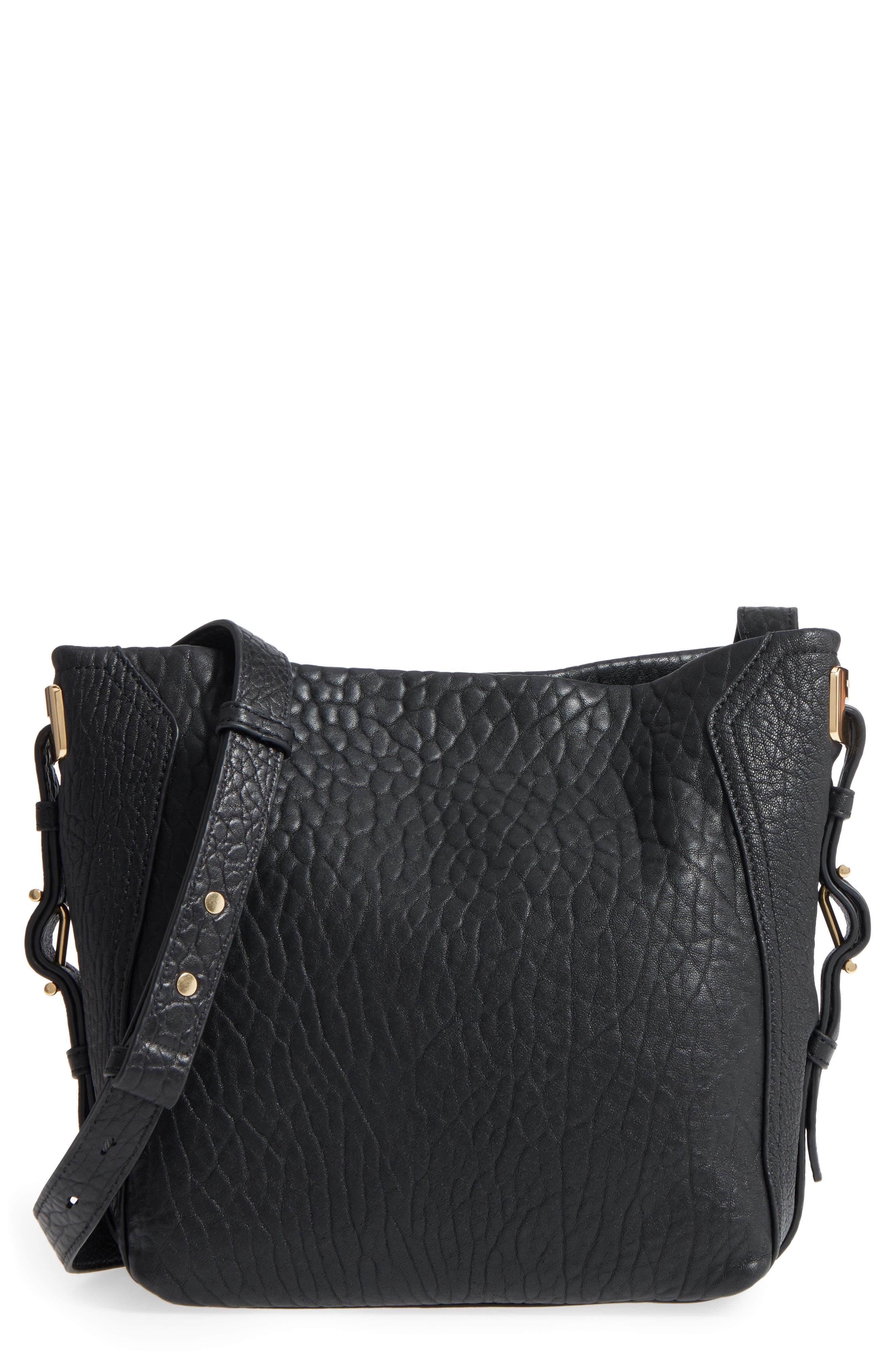 Fava Leather Bucket Bag,                             Main thumbnail 1, color,                             Black