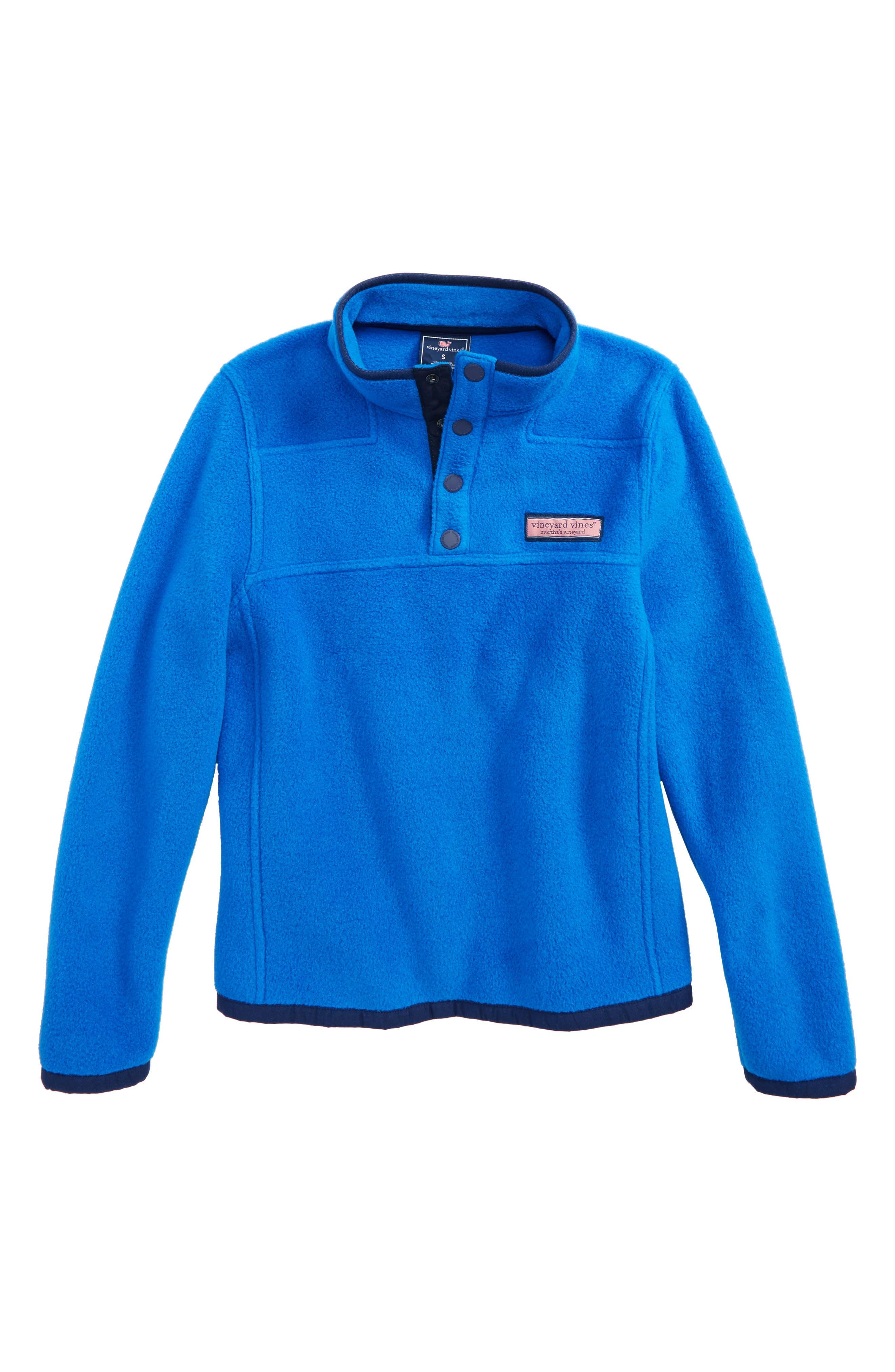 Shep Snap Placket Fleece Pullover,                         Main,                         color, Regatta Blue