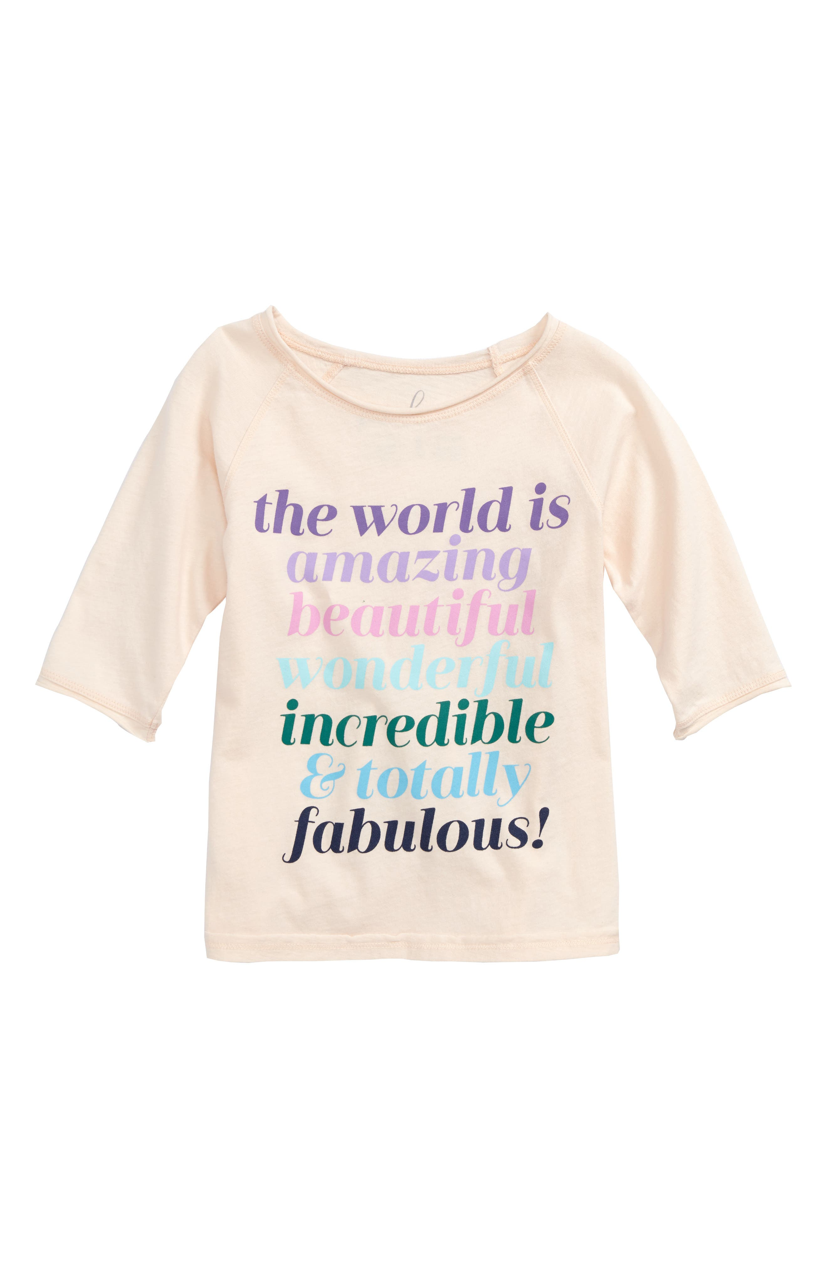 World is Amazing Graphic Tee,                             Main thumbnail 1, color,                             Cream