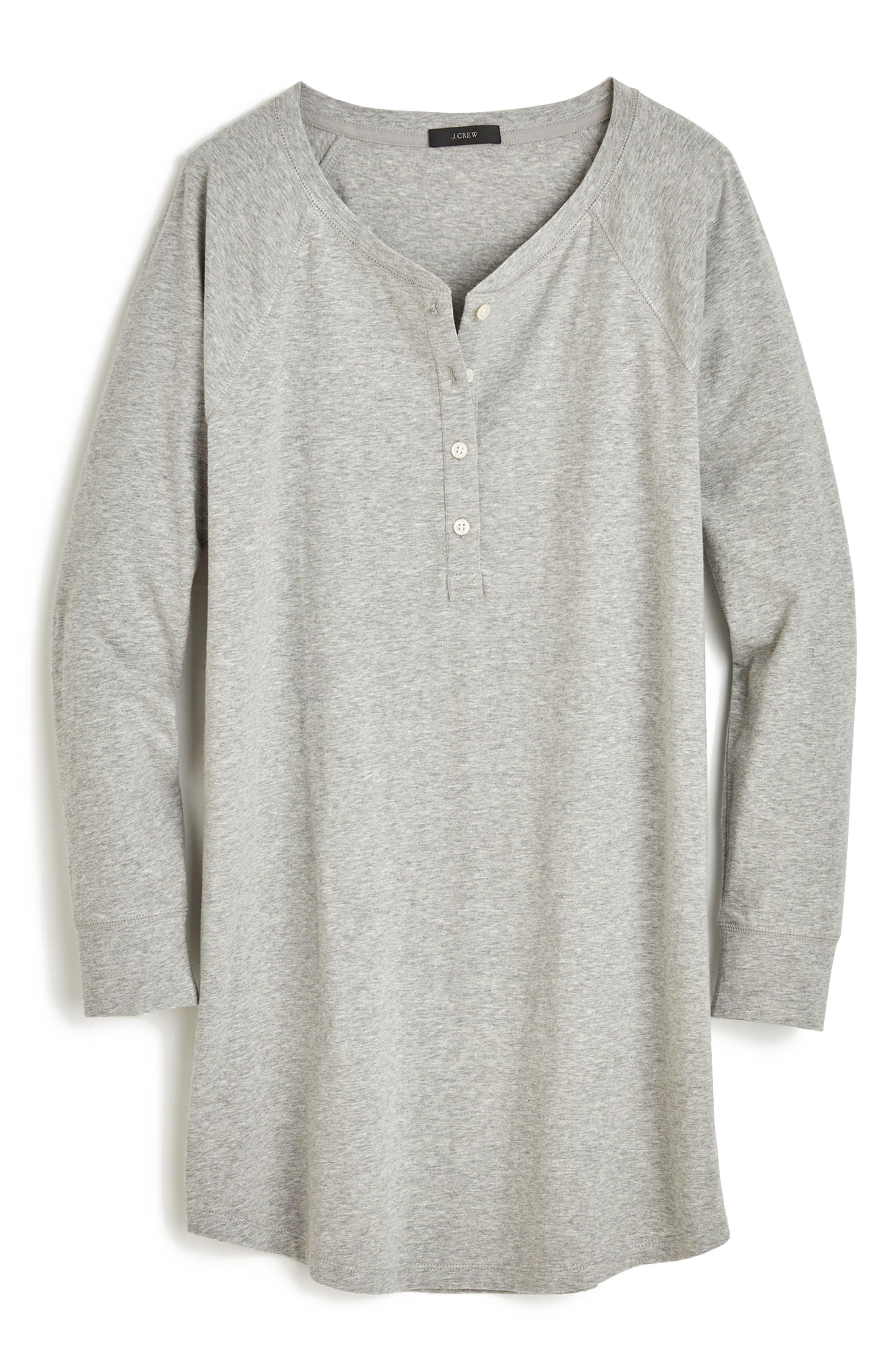 Knit Sleep Shirt,                             Alternate thumbnail 4, color,                             Heather Grey
