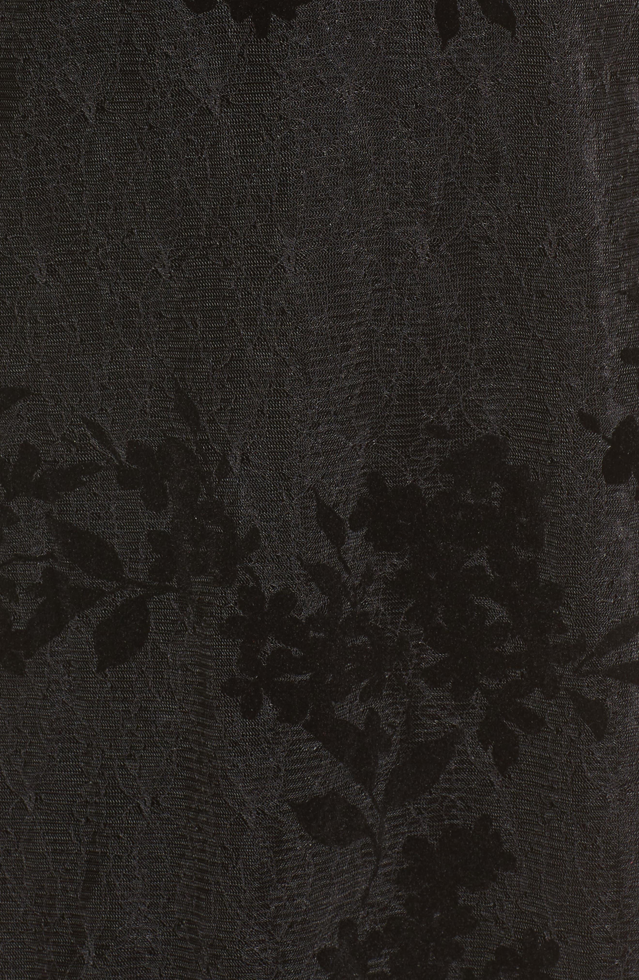 Flocked Lace A-Line Dress,                             Alternate thumbnail 5, color,                             Black Lace