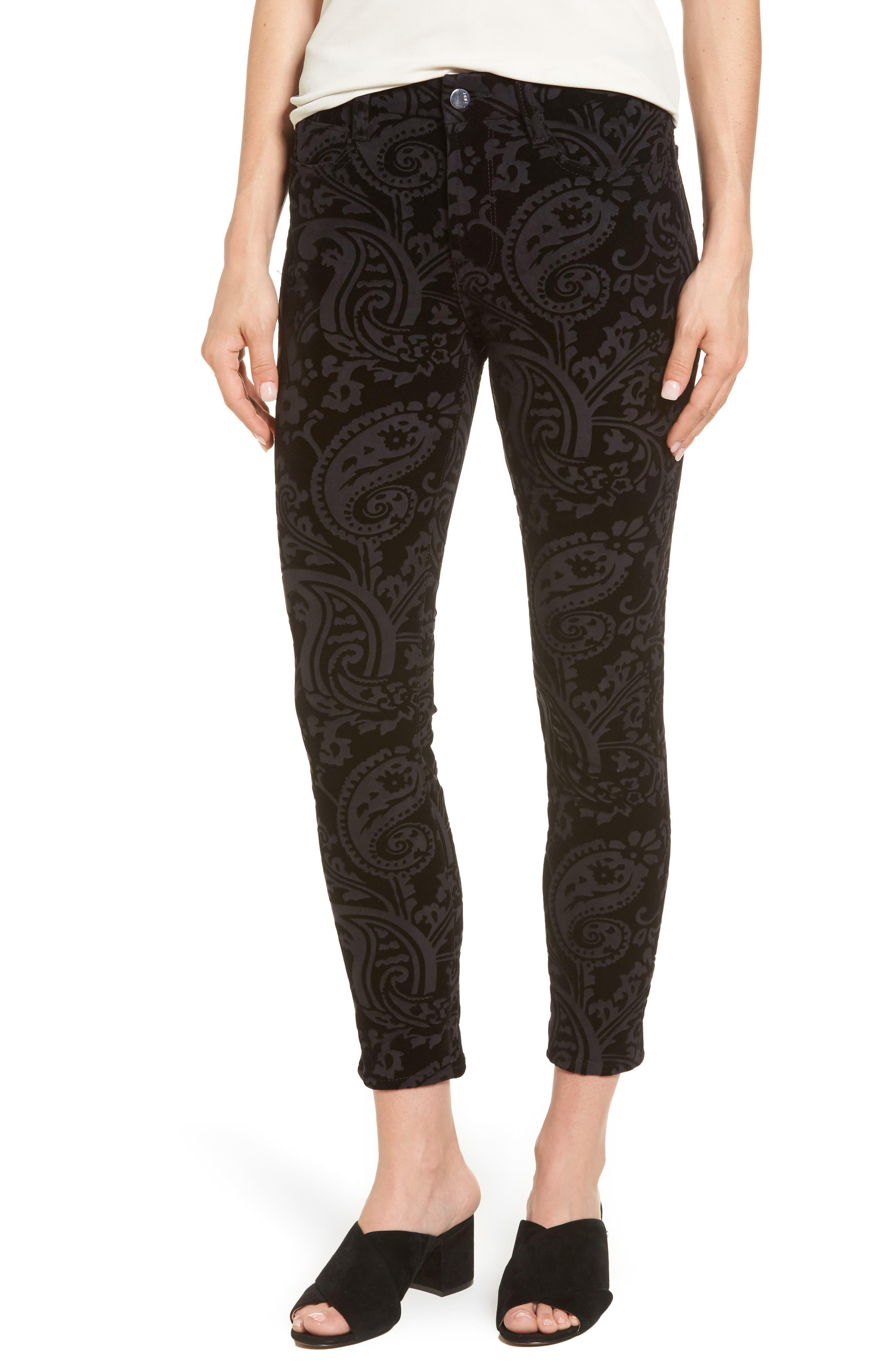 Paisley Velvet Ankle Skinny Jeans,                             Main thumbnail 1, color,                             Black