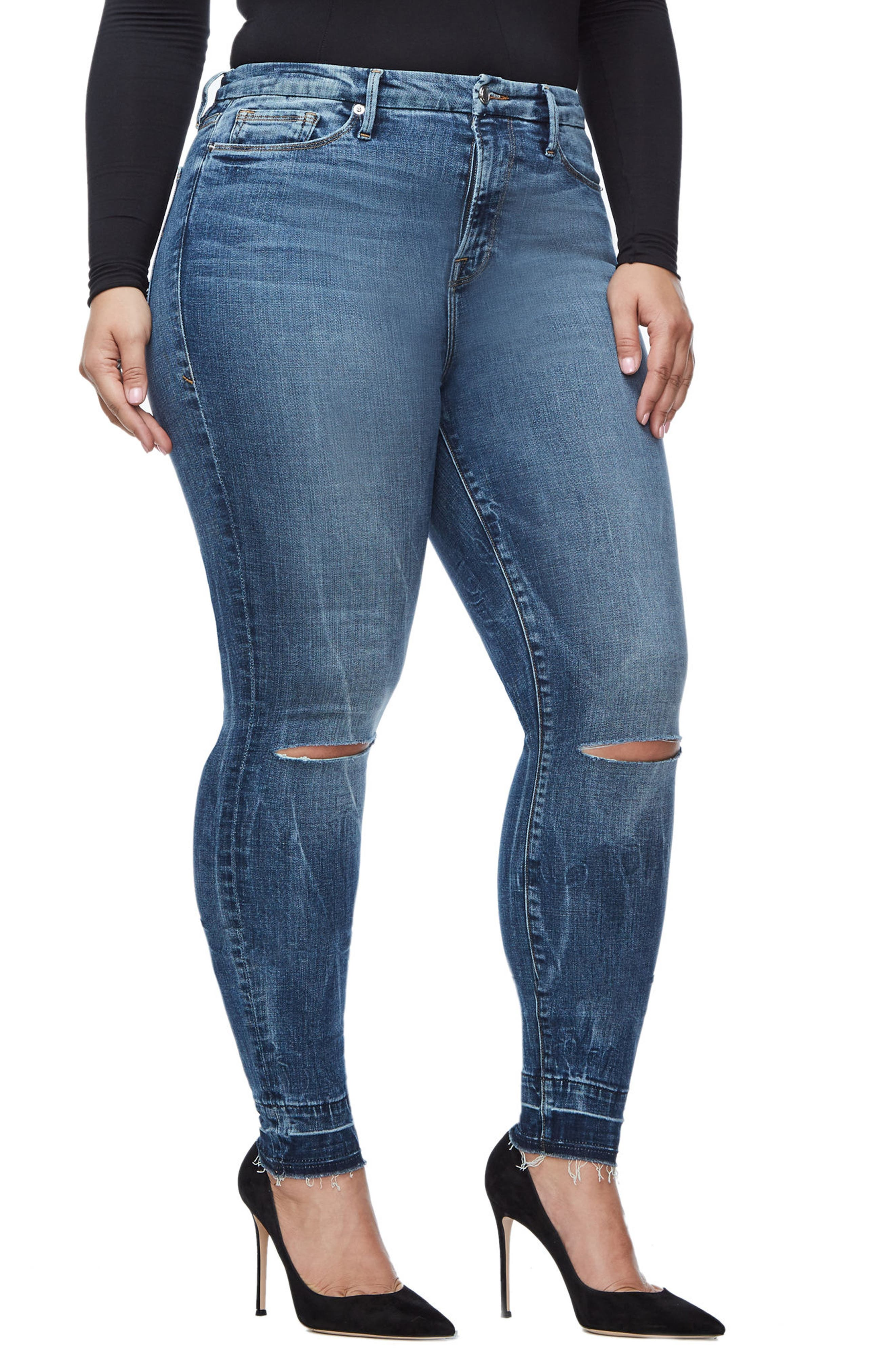 Good Legs High Waist Skinny Jeans,                             Alternate thumbnail 6, color,                             Blue 097